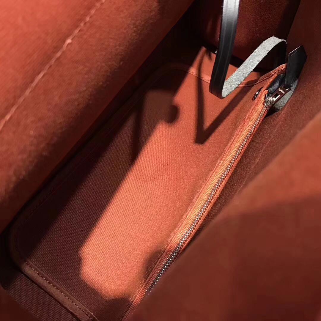 愛馬仕Hermes 牛皮+帆布材質 Herbag 31cm 古銅色