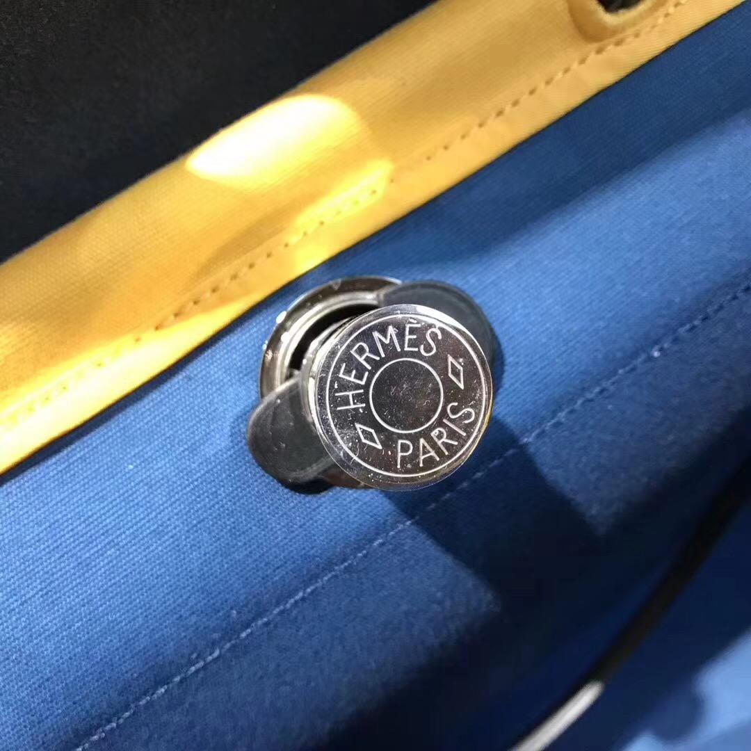 愛馬仕Hermes最學院派的包Herbag 31cm 9V Jaune D'or太陽黃配色瑪瑙藍