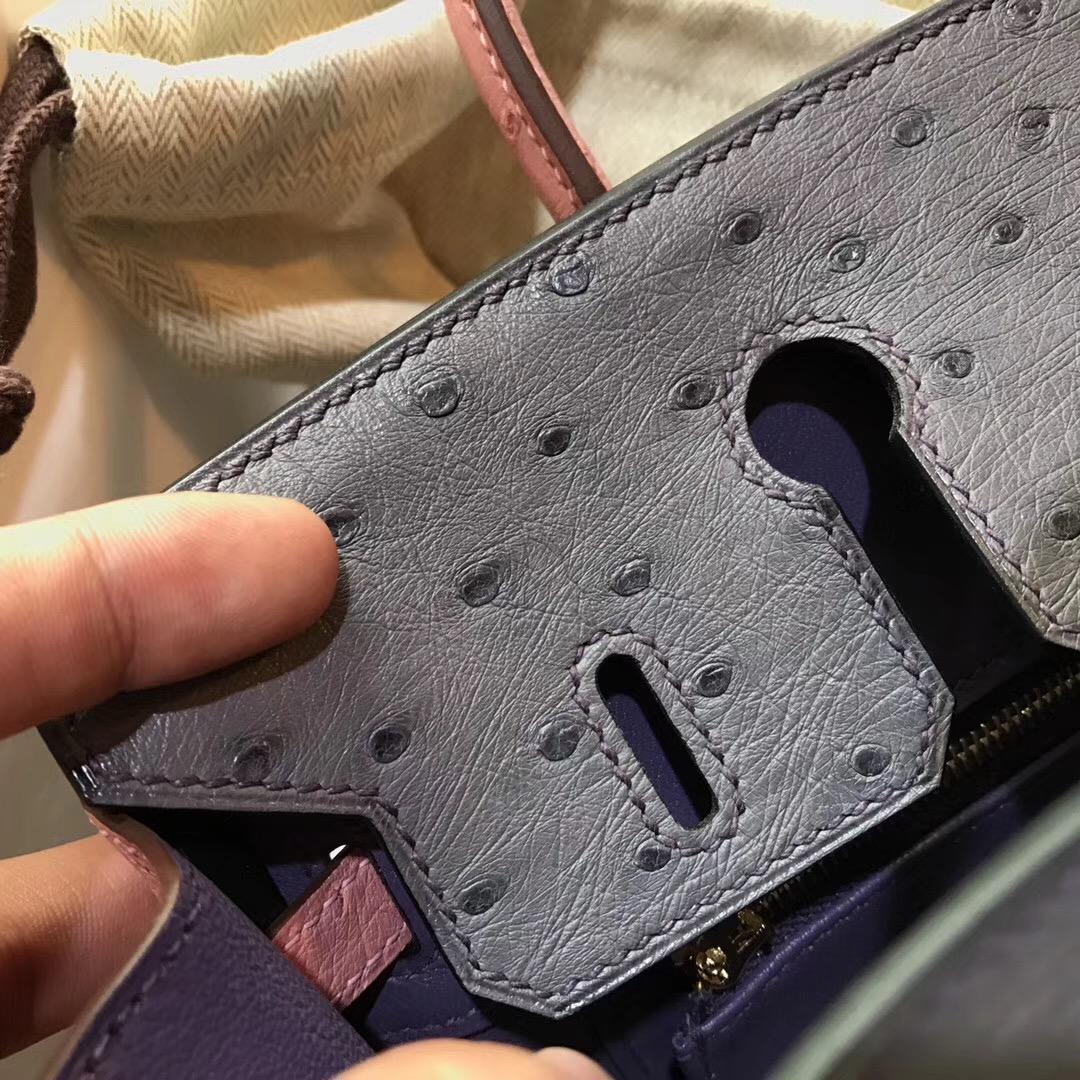Hermes Birkin 25cm 鴕鳥配色 Clemence 9K Iris 鳶尾紫/陶瓷粉