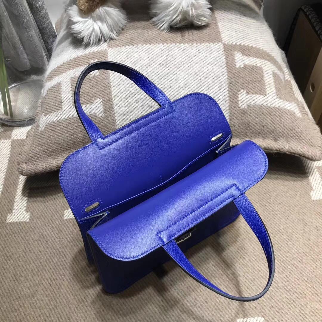 愛馬仕Hermes 迷妳包Halzan mini bag togo荔枝紋7T Blue Electric電光藍
