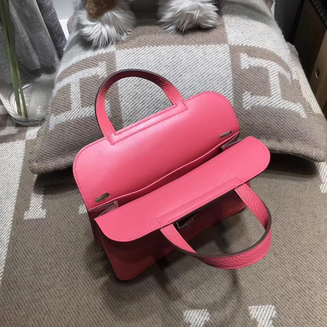 Hermes 迷妳包Halzan mini bag togo荔枝紋8W Rose Azalee新唇膏粉