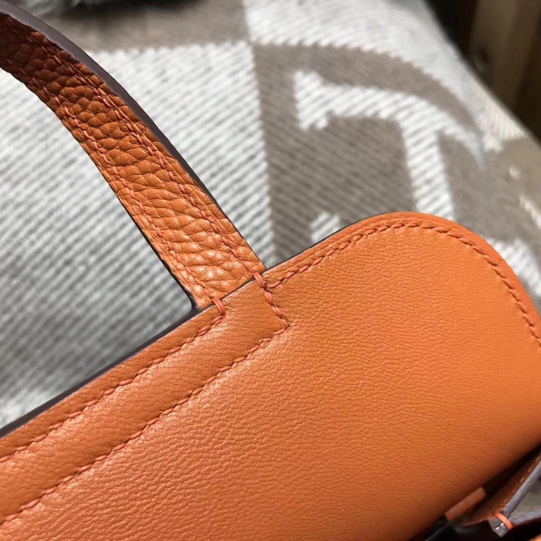 Hermes 迷妳包Halzan mini bag togo 荔枝紋CK93 Orange經典橙