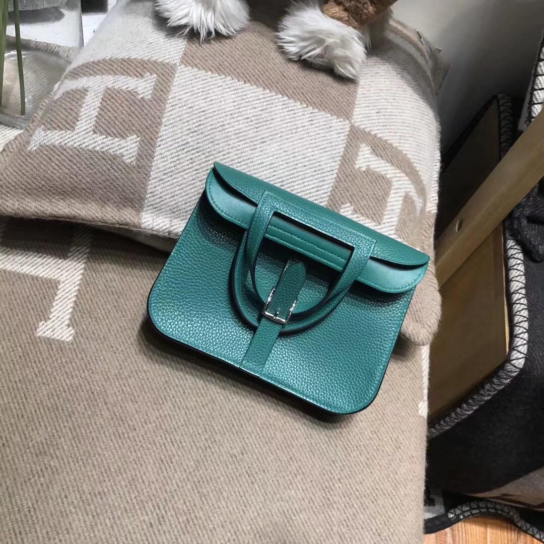 Hermes 迷妳包 Halzan mini bag togo 荔枝紋Z6 Malachite 孔雀綠