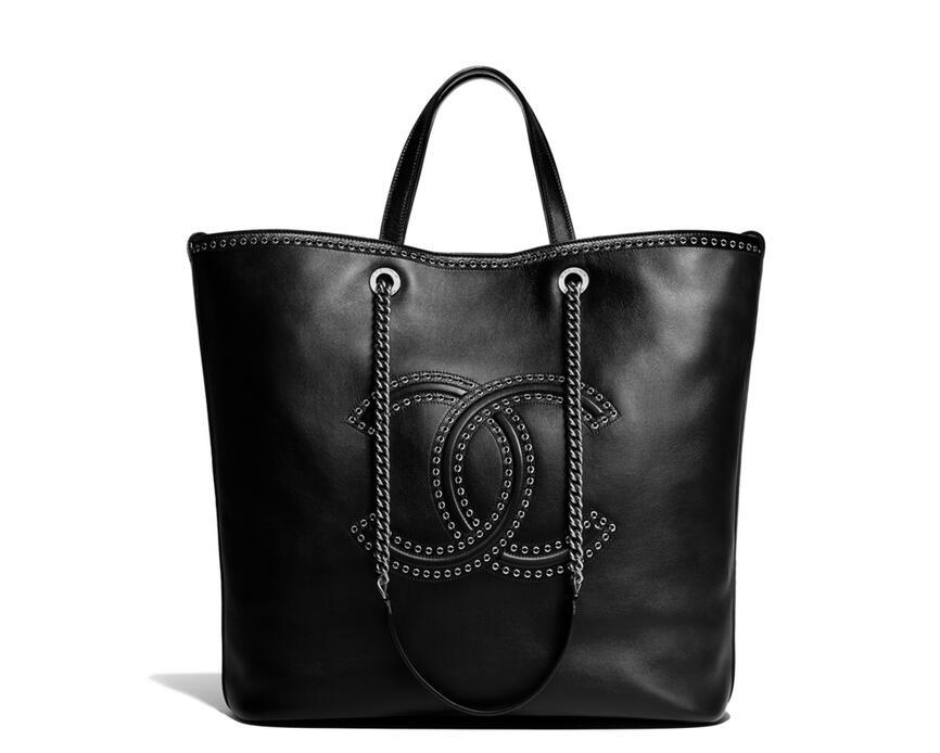香奈兒2018春夏款黑色black 小牛皮與孔眼 大號手提包Large shopping bag