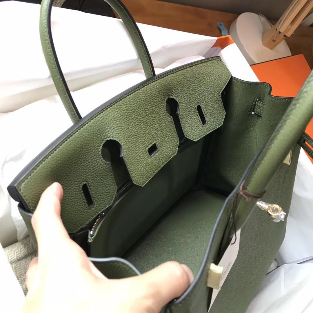 Hermes鉑金包 Birkin 30 Togo V6 Canopee 叢林綠 GHW 帥氣的綠色