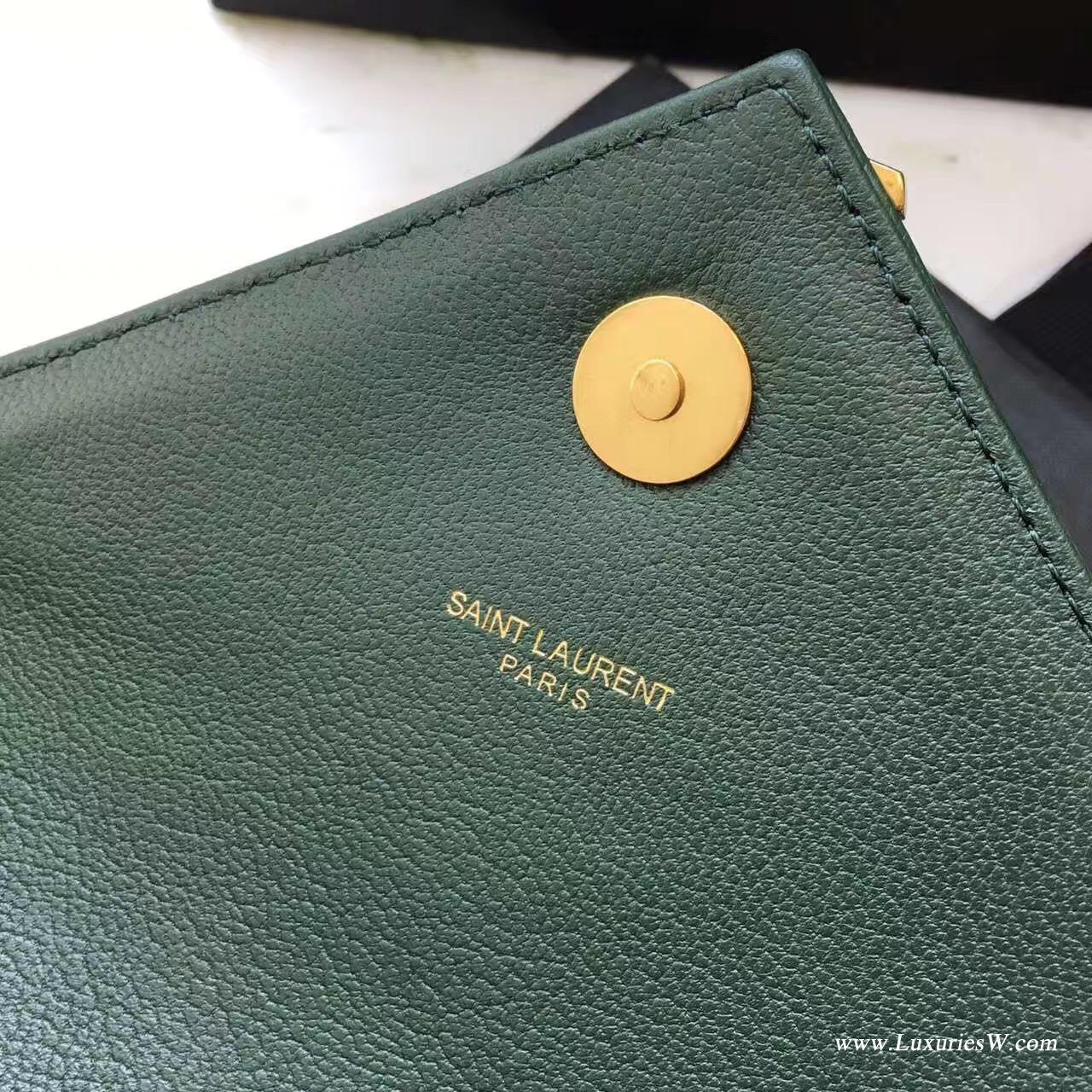 聖羅蘭YSL 經典中號MONOGRAM SAINT LAURENT COLLÈGE绿色古金