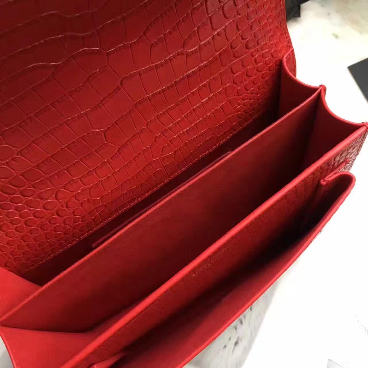YSL中號SUNSET MONOGRAM SAINT LAURENT红色鱷魚壓紋真皮包