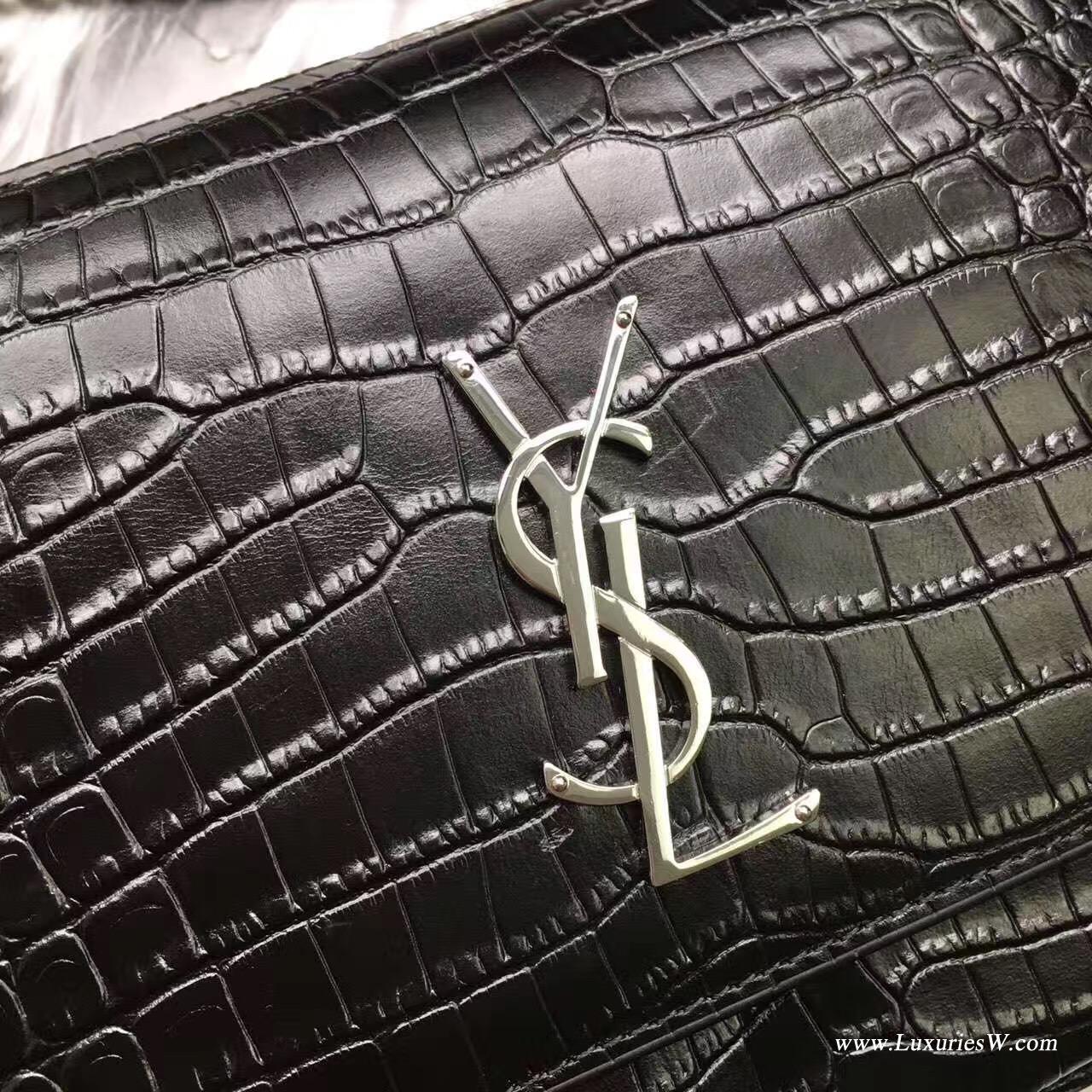 聖羅蘭YSL中號SUNSET MONOGRAM SAINT LAURENT黑色鱷魚壓紋亮色