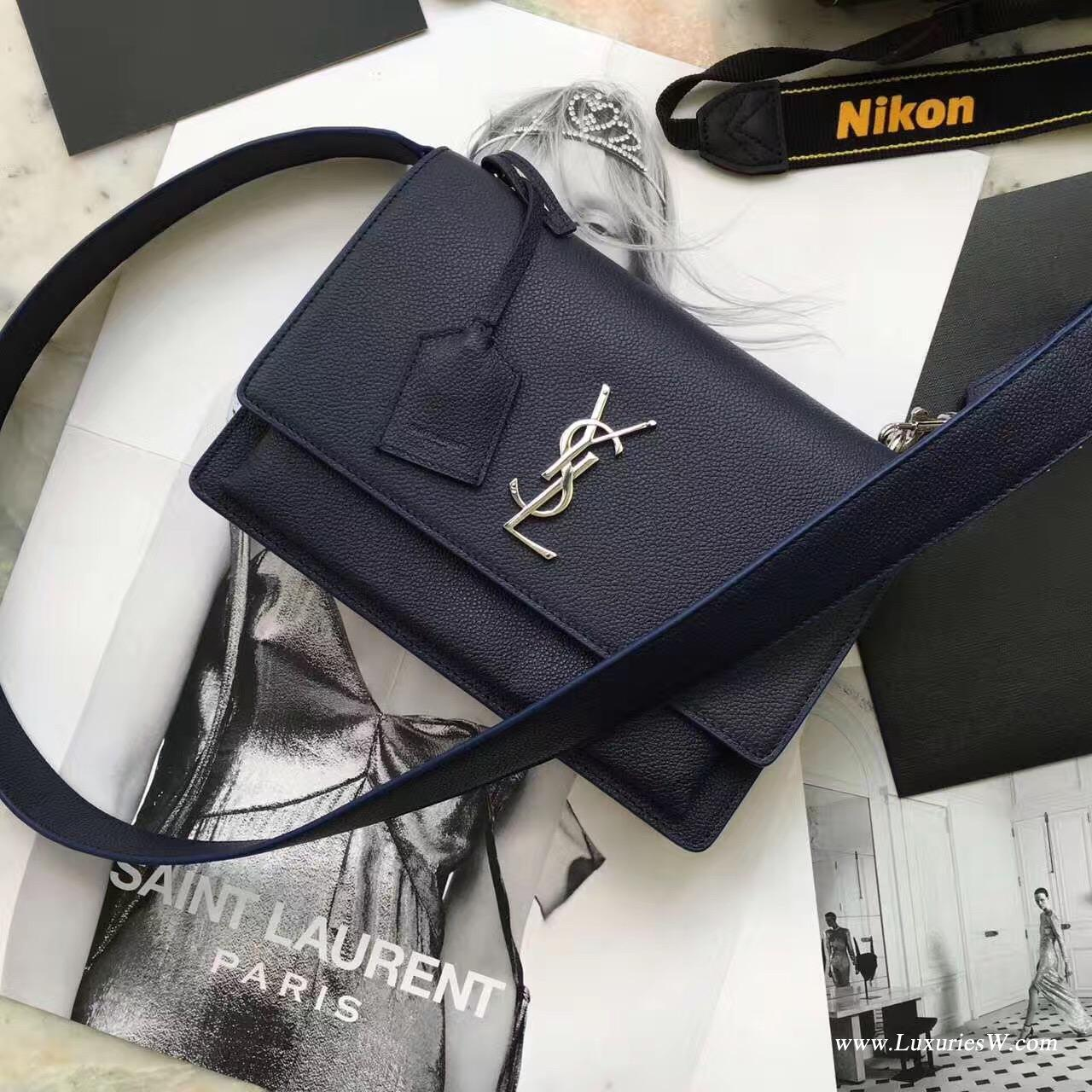 YSL中號SUNSET MONOGRAM SAINT LAURENT蓝色前翻蓋挎包