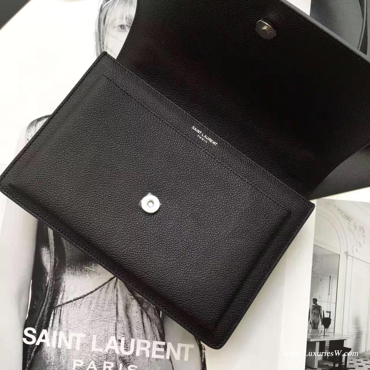 聖羅蘭YSL SUNSET MONOGRAM SAINT LAURENT中號黑色斜揹挎包