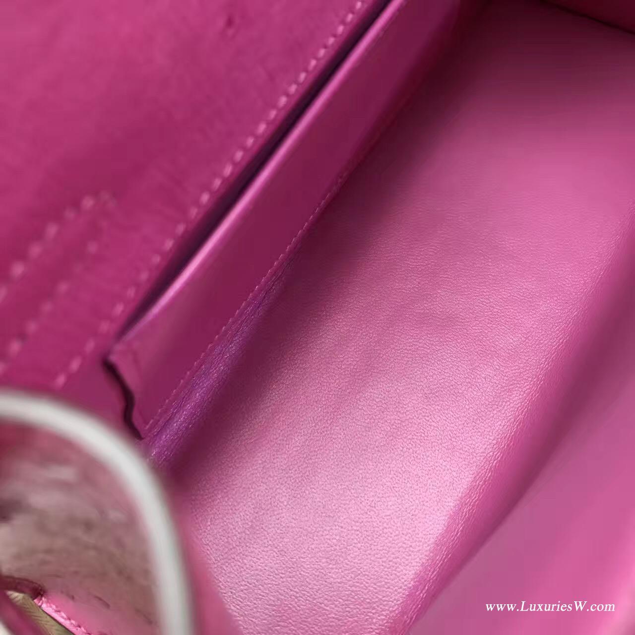 愛馬仕Hermes Minikelly壹代 Pochette鸵鸟E5 Rose Tyien 荧光粉色 金色金属