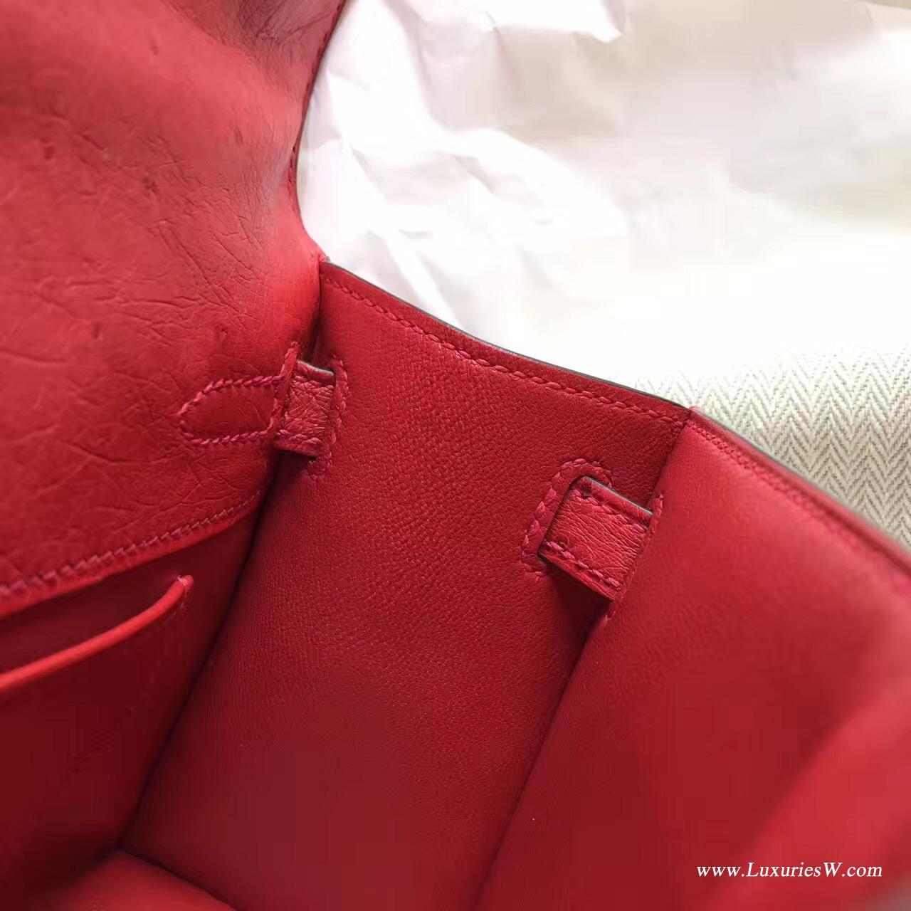 愛馬仕Hermes Minikelly壹代 Q5 Rouge Cossacks中国红鸵鸟 可爱迷人 银色金属