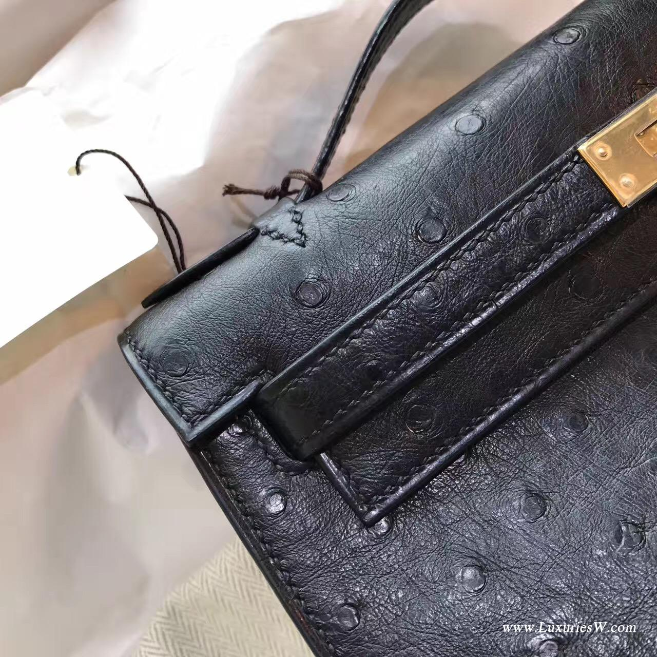 Hermes minikelly 一代 凯莉包 鸵鸟CK89 Nior黑色金色金属 街拍首选帅气十足