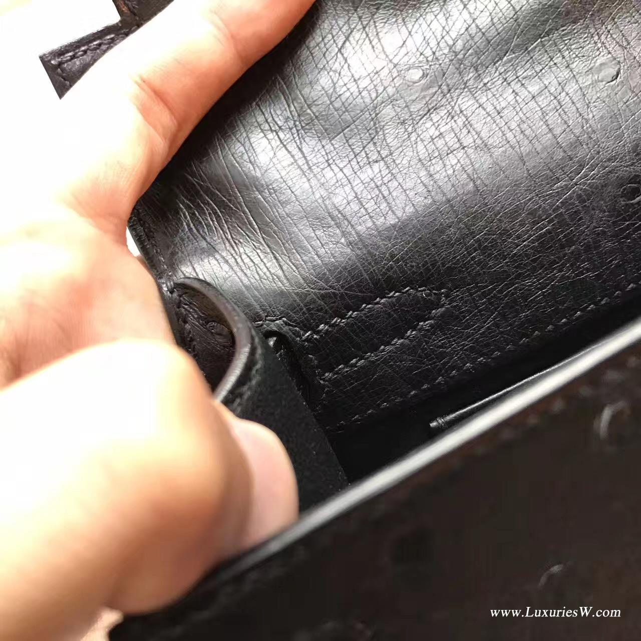经典凯莉包 Mini Kelly鸵鸟CK89 Nior黑色街拍首选帅气十足 银色金属