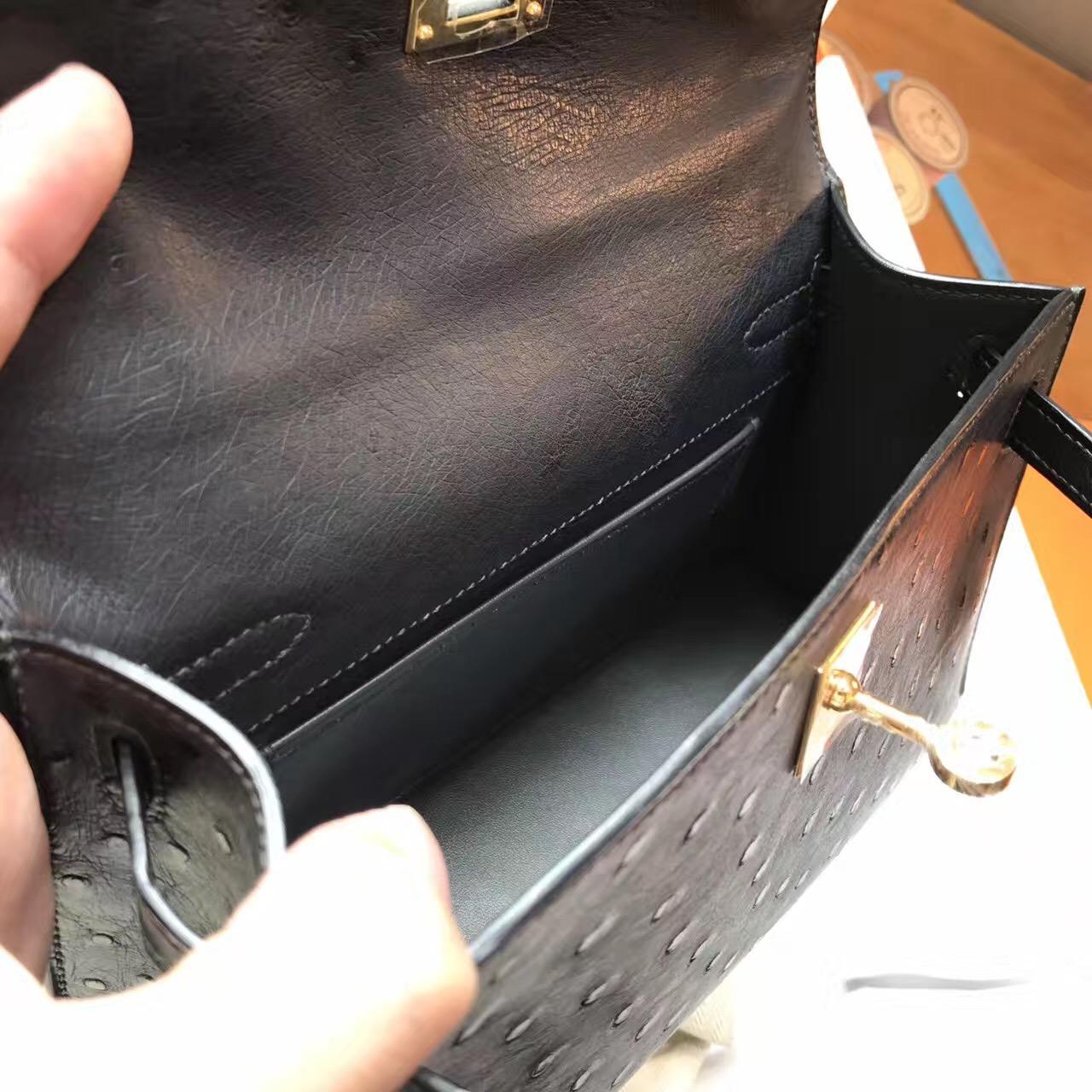 愛馬仕Hermes mini Kelly壹代 8F Etain锡器灰鸵鸟很有气质的一个灰色 金色金属