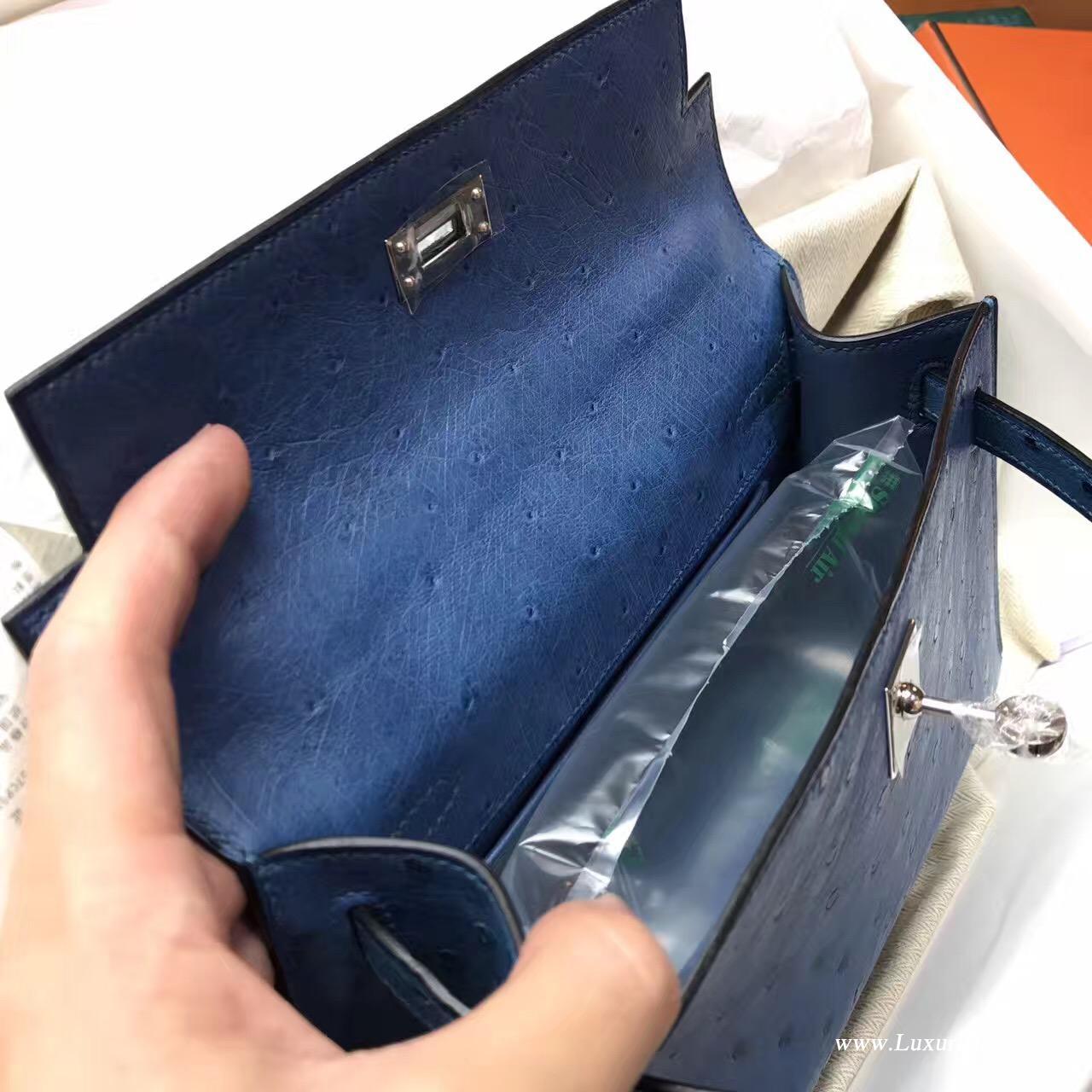 愛馬仕迷妳凱莉包 Hermes Mini Kelly Pochette 鸵鸟7C Cobalt珊瑚蓝银色金属