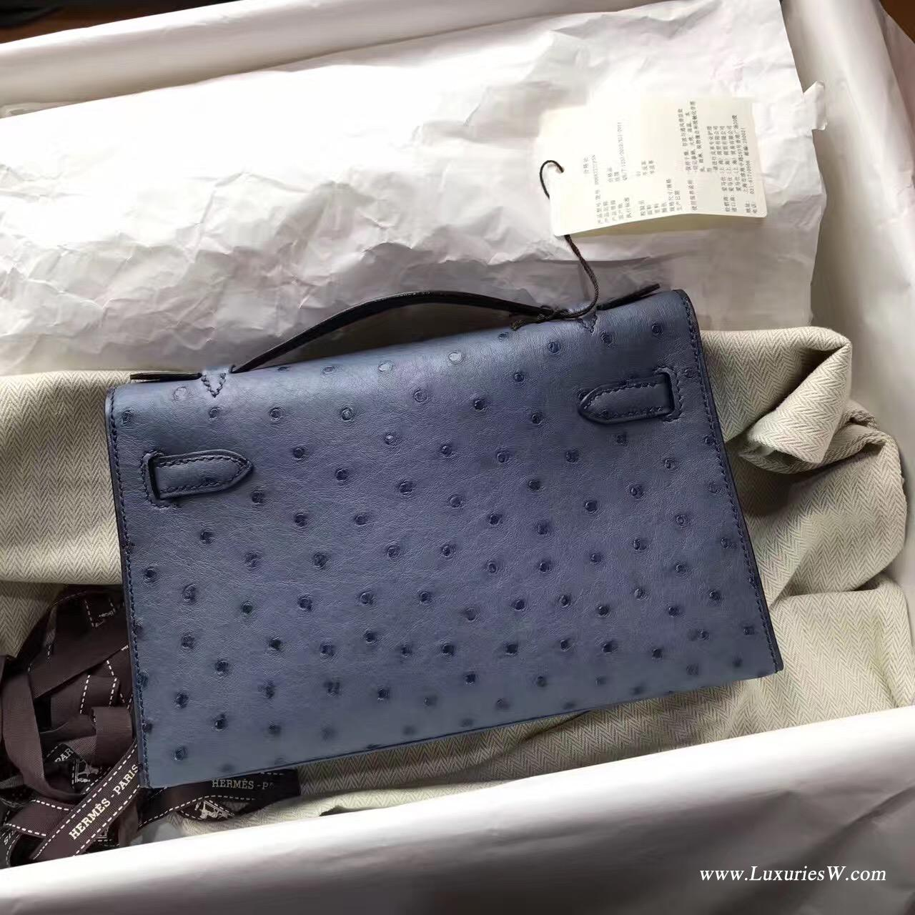 Hermes凯莉包Mini kelly宴会手包ck73 Blue Saphir宝石蓝 气质蓝色