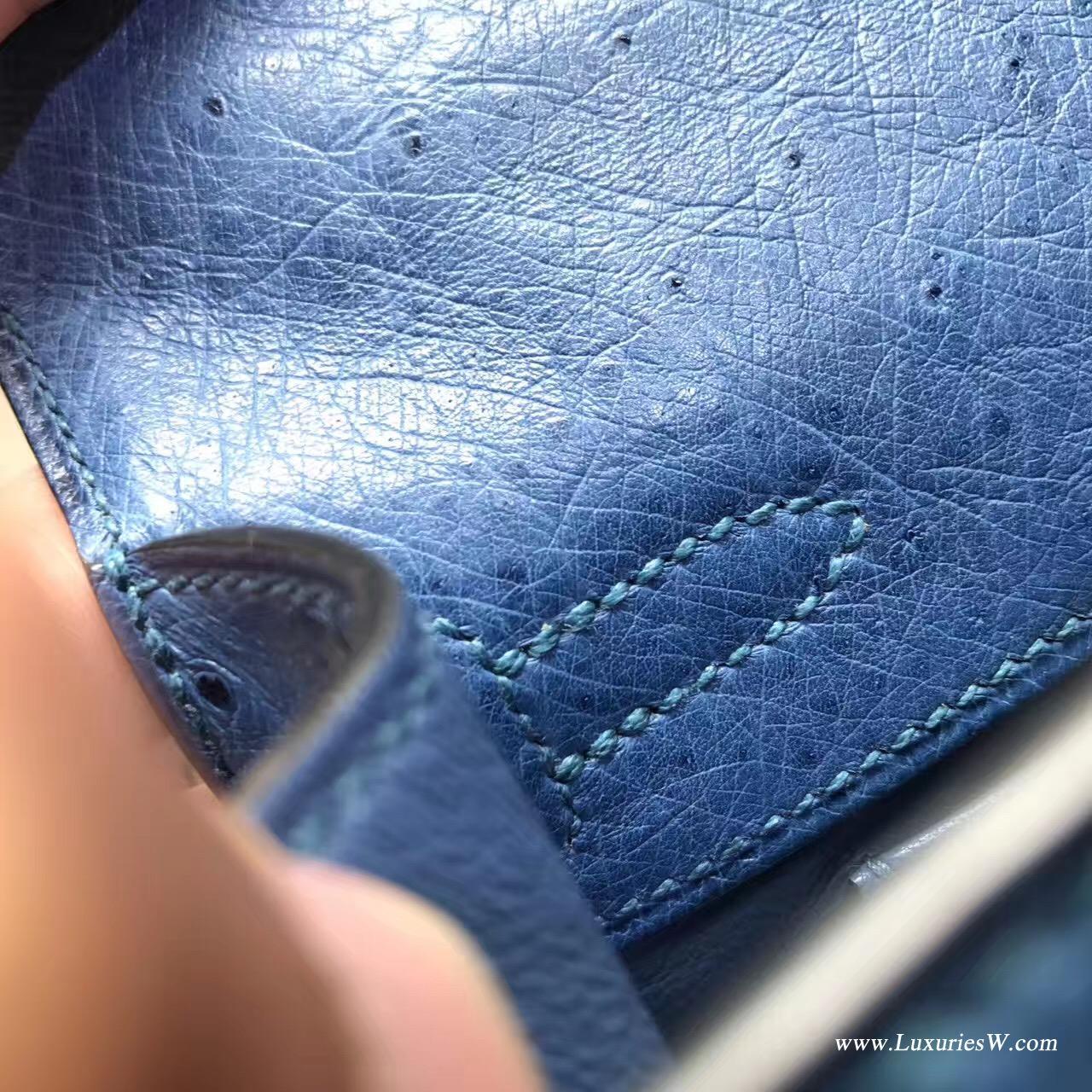 愛馬仕Hermes mini Kelly壹代 Pochette 鸵鸟7C Cobalt珊瑚蓝低调的蓝色 金色金属