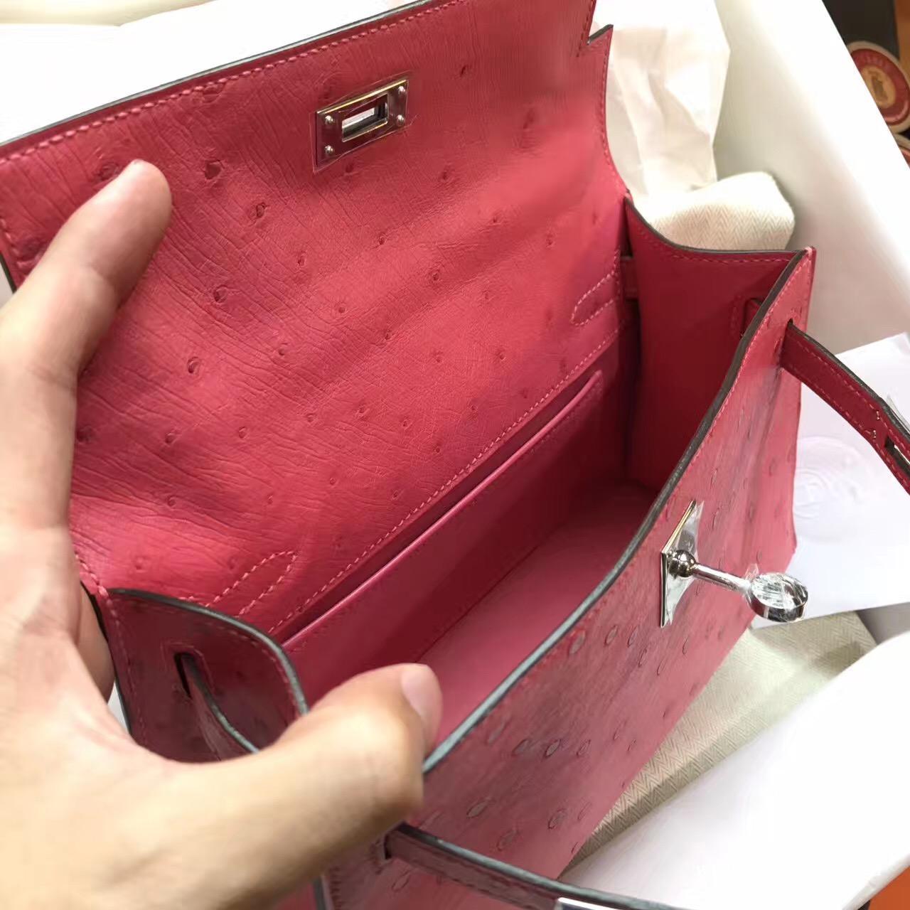 愛馬仕Hermes mini Kelly壹代 鸵鸟新颜色8W Rose Azalee新唇膏粉色 银色金属