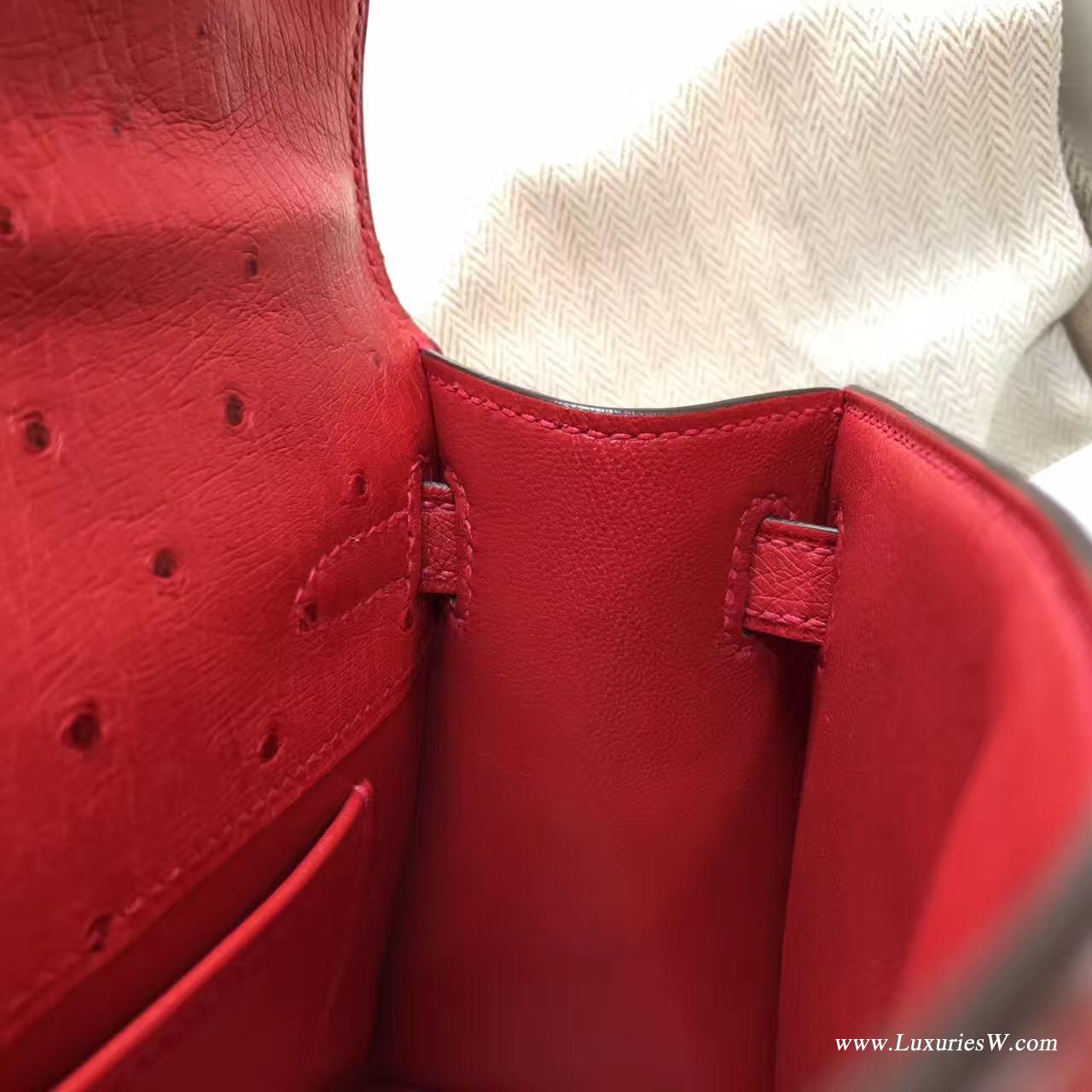 愛馬仕Hermes Minikelly壹代 Q5 Rouge Cossacks中国红鸵鸟 可爱迷人 金色金属