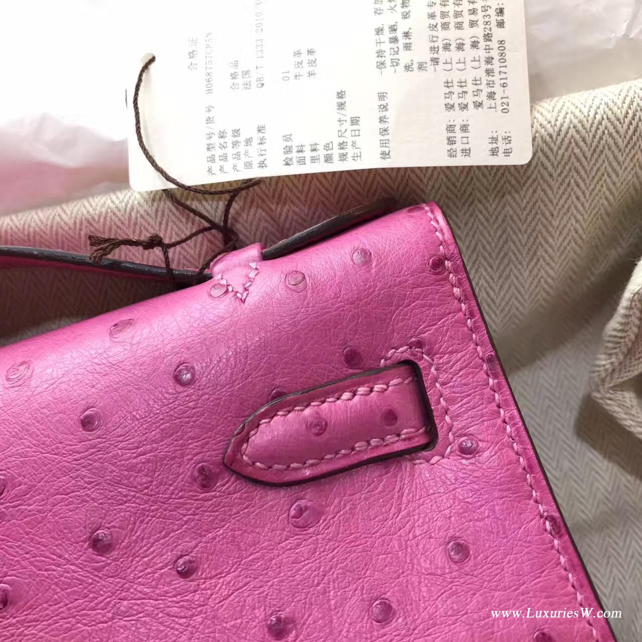 愛馬仕Hermes Minikelly壹代 Pochette鸵鸟E5 Rose Tyien糖果粉色 荧光粉色银色金属