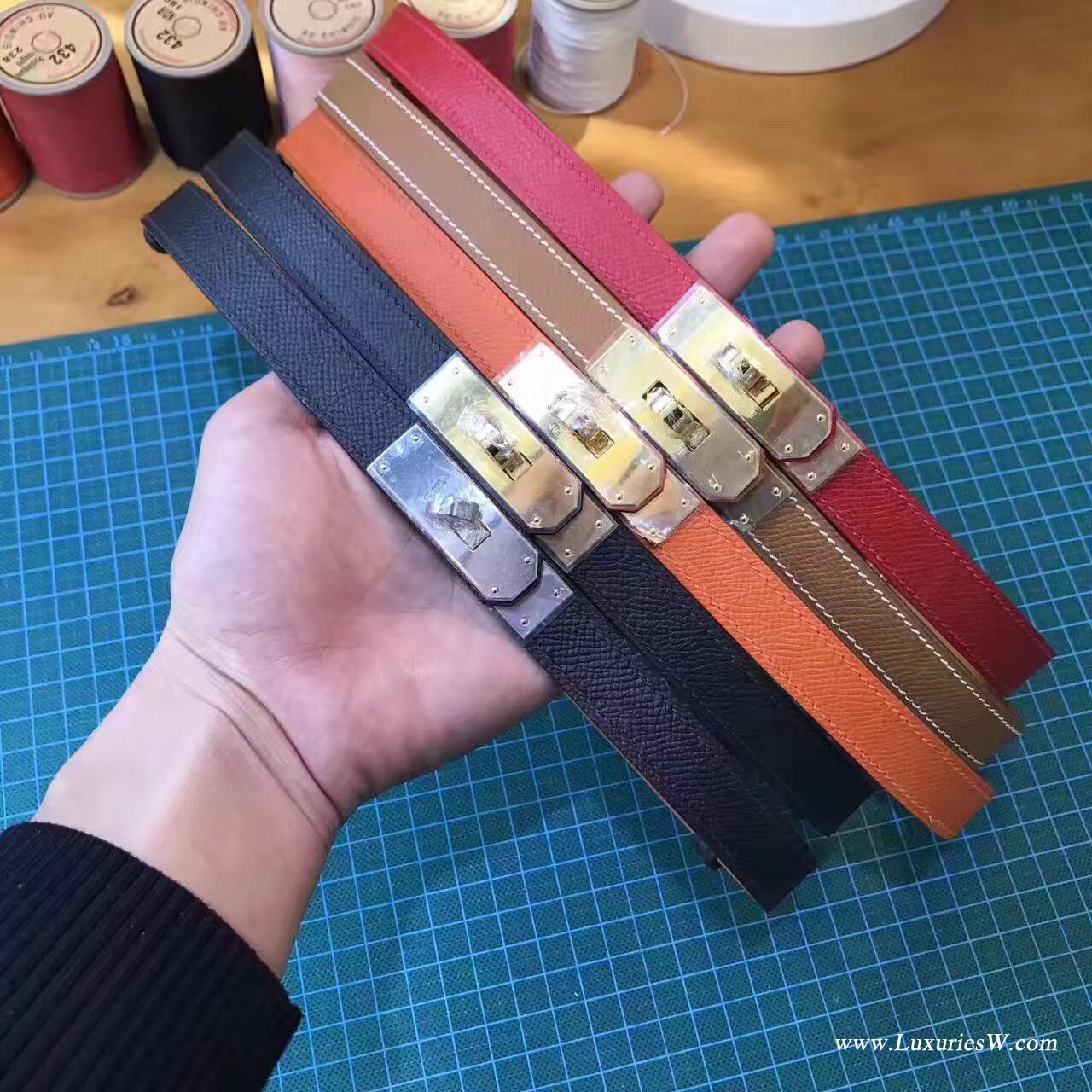 纯手缝Hermes Kelly Belt Epsom 黑色腰带 金银色金属扣