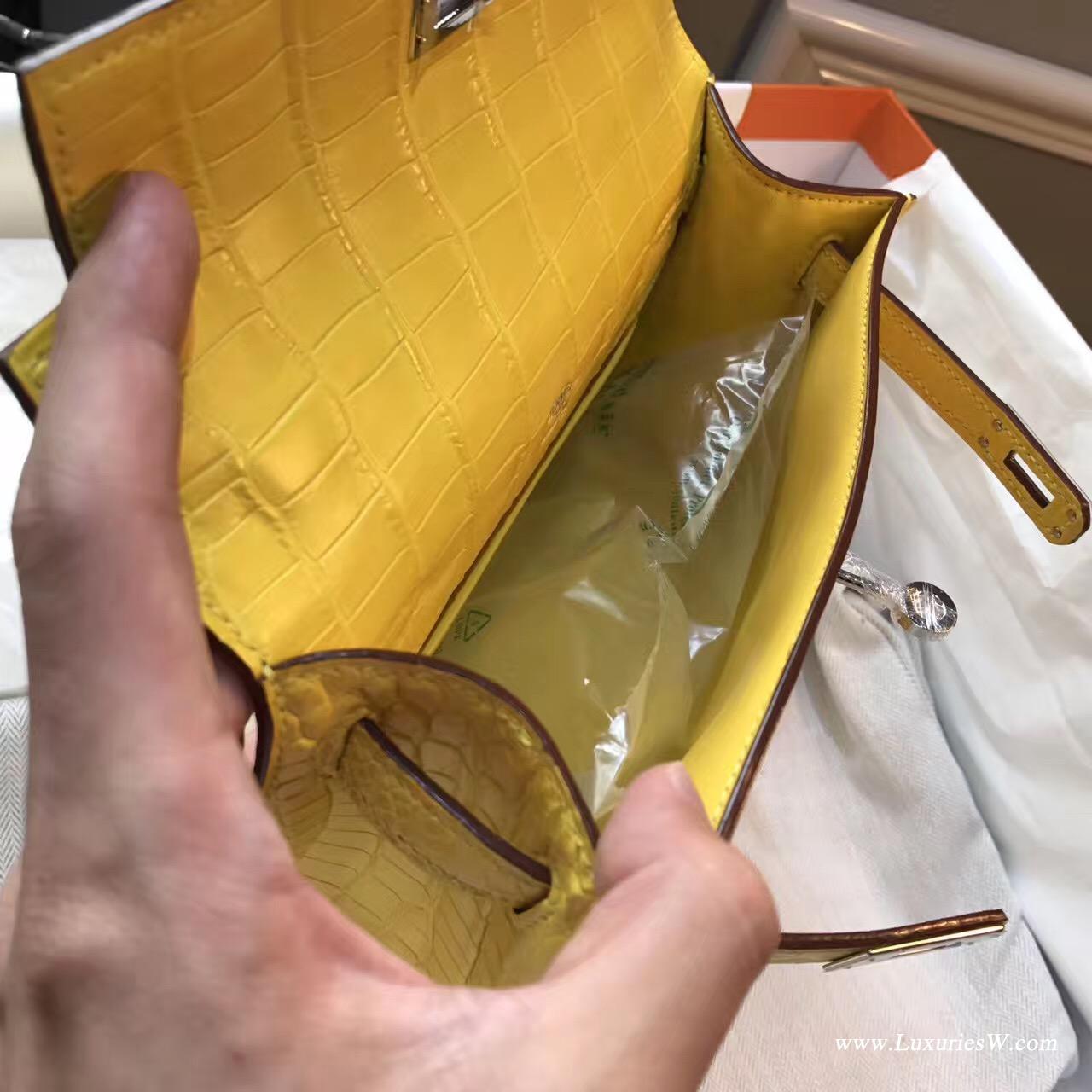 凯莉包 Mini kelly宴会手包M9 Mimosa鳄鱼雾面冰凌黄银扣