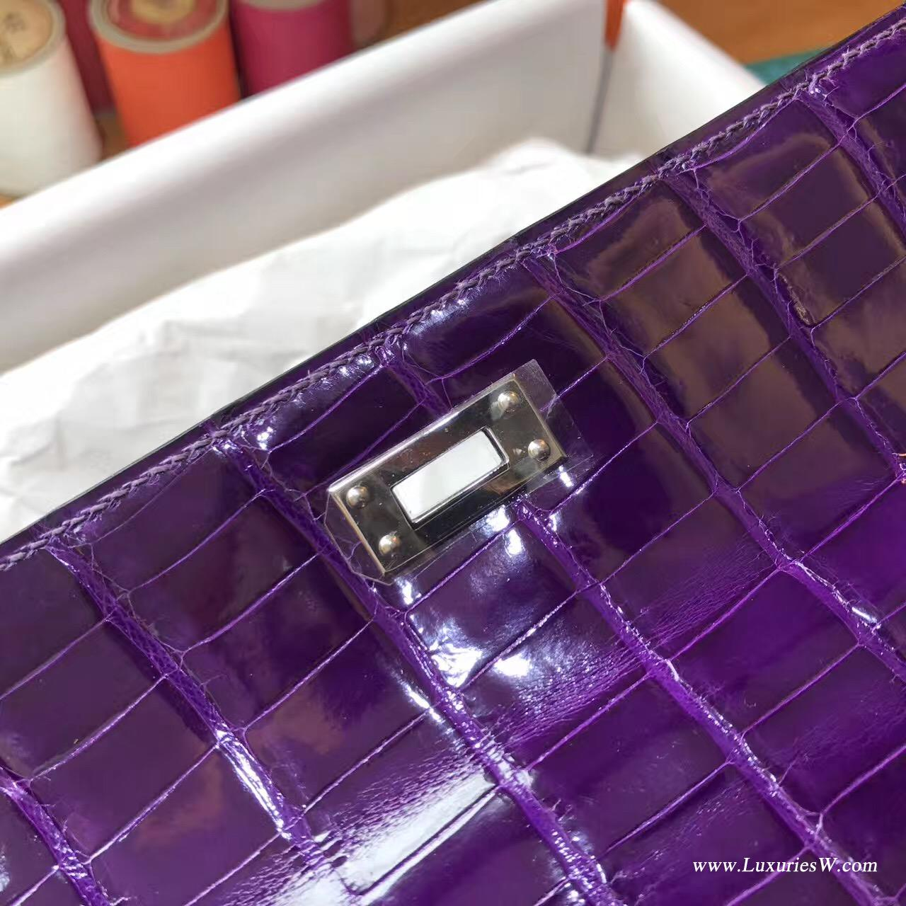Hermes Mini Kelly鳄鱼宴会手包9G Amethyst紫水晶银扣