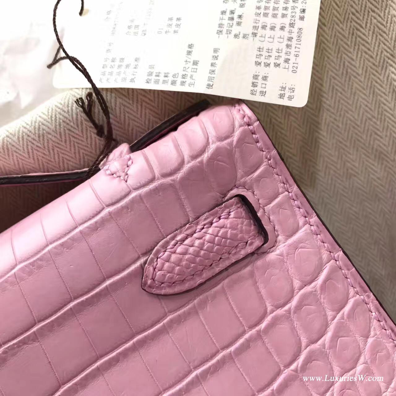 愛馬仕迷妳凱莉包 Hermes Mini Kelly Pochette鱷魚霧面5P Pink櫻花粉銀扣