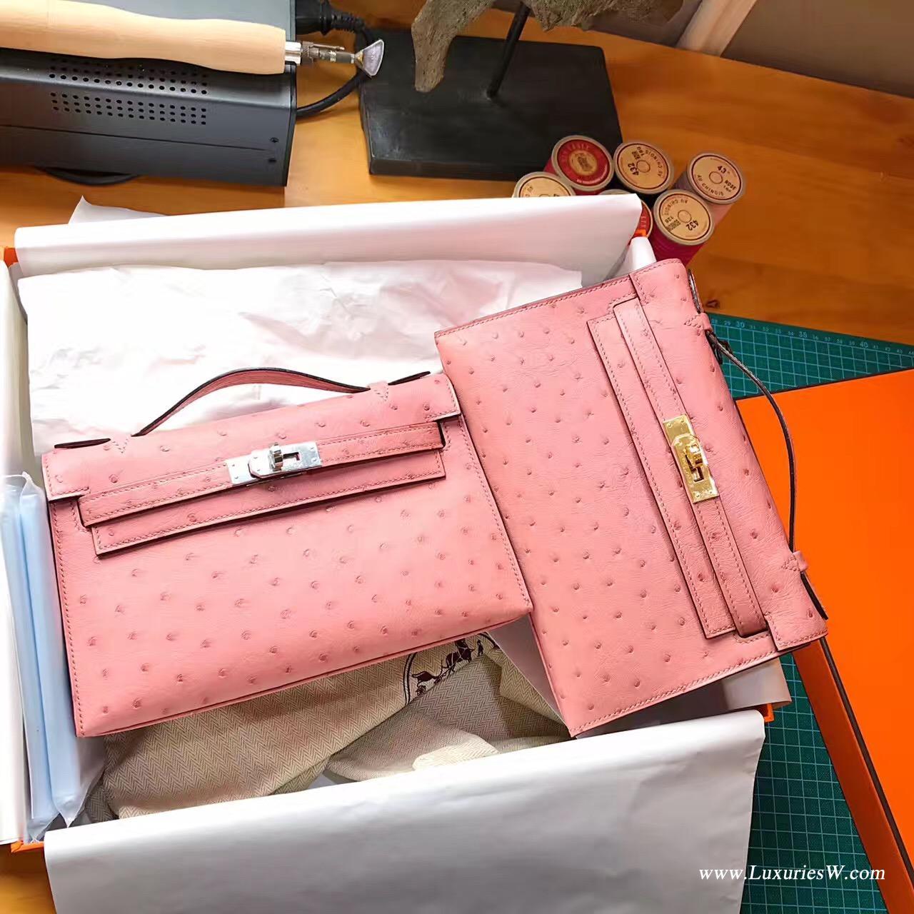 Hermes Mini Kelly鴕鳥CC94 Terre Cuite陶瓷粉最美的粉色金扣宴會首選