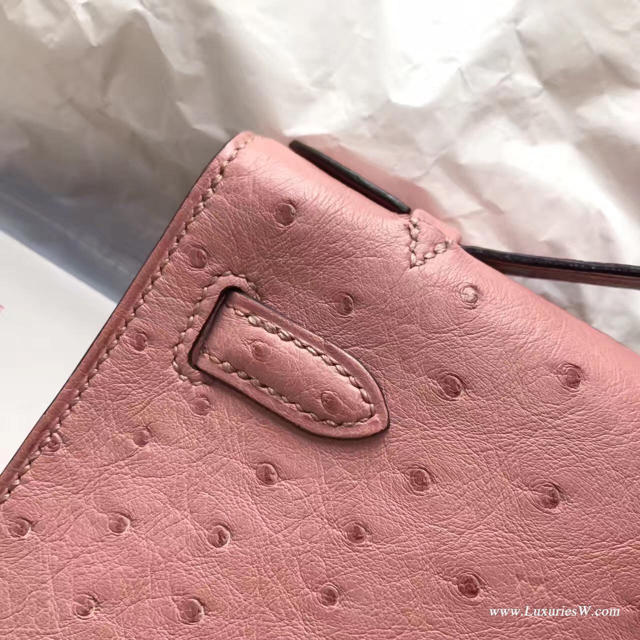 Hermes Mini Kelly鴕鳥CC94 Terre Cuite陶瓷粉最美的粉色 銀扣