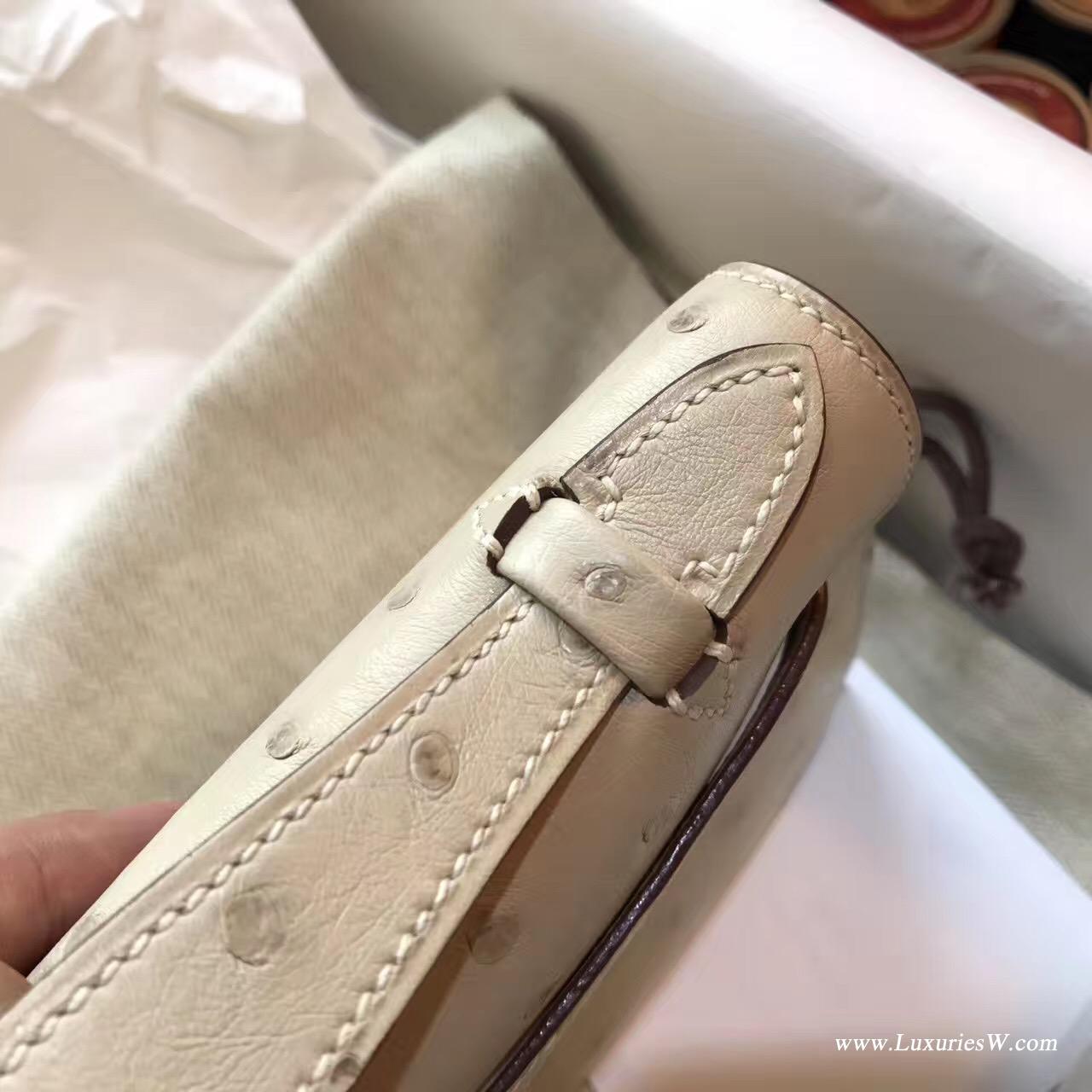 Hermes Mini Kelly 鴕鳥CK10 Craie 奶昔白 GHW 氣質淡素色系金扣