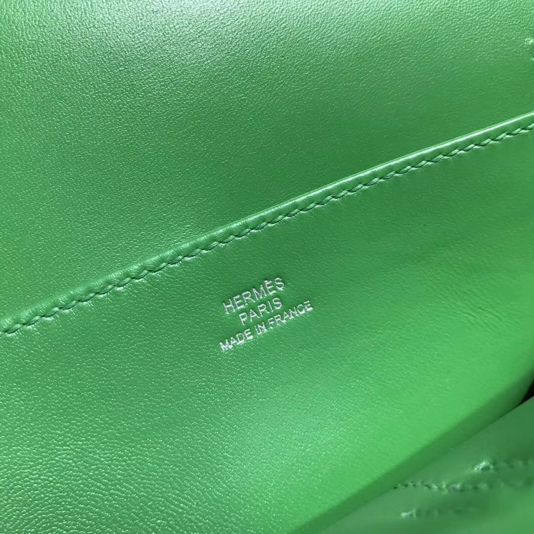 Hermes 迷妳包 Halzan mini bag togo荔枝紋1K Bamboo竹子綠