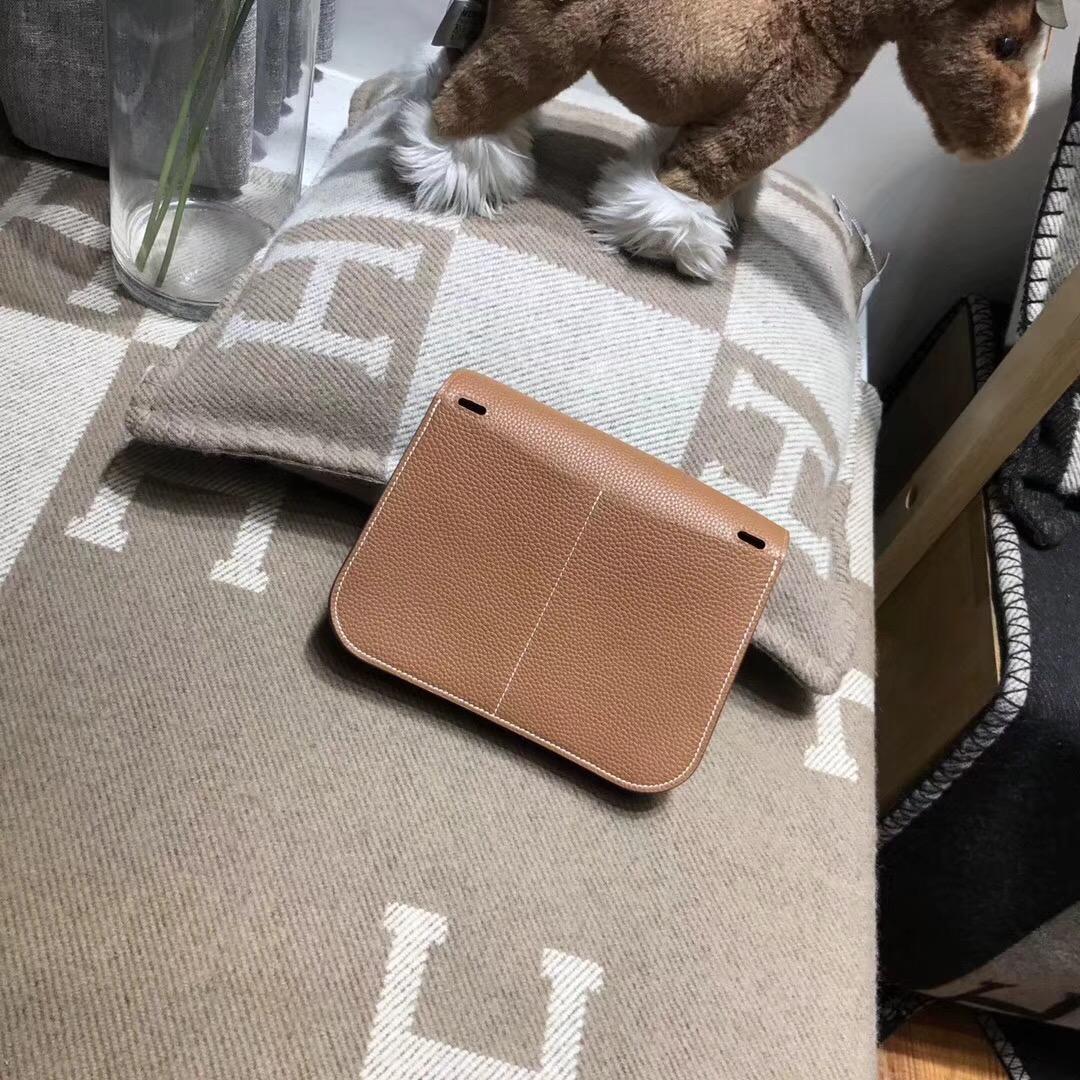 愛馬仕Hermes迷妳包Halzan mini bag togo荔枝紋CK37 Glod金棕色