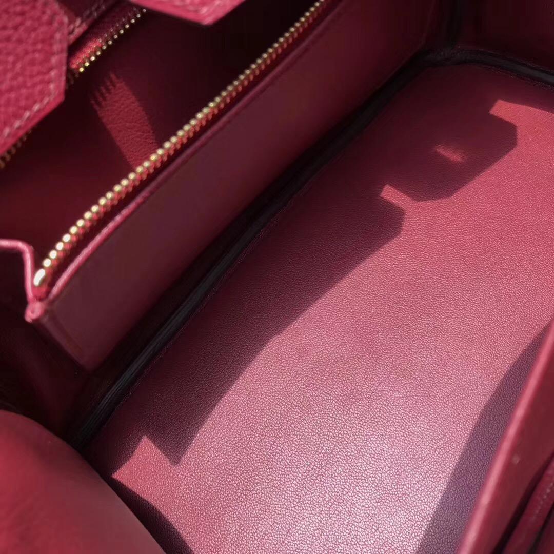 Hermes最出名的包袋 鉑金包Birkin 30cm togo K1 Rouge Grenat 石榴红