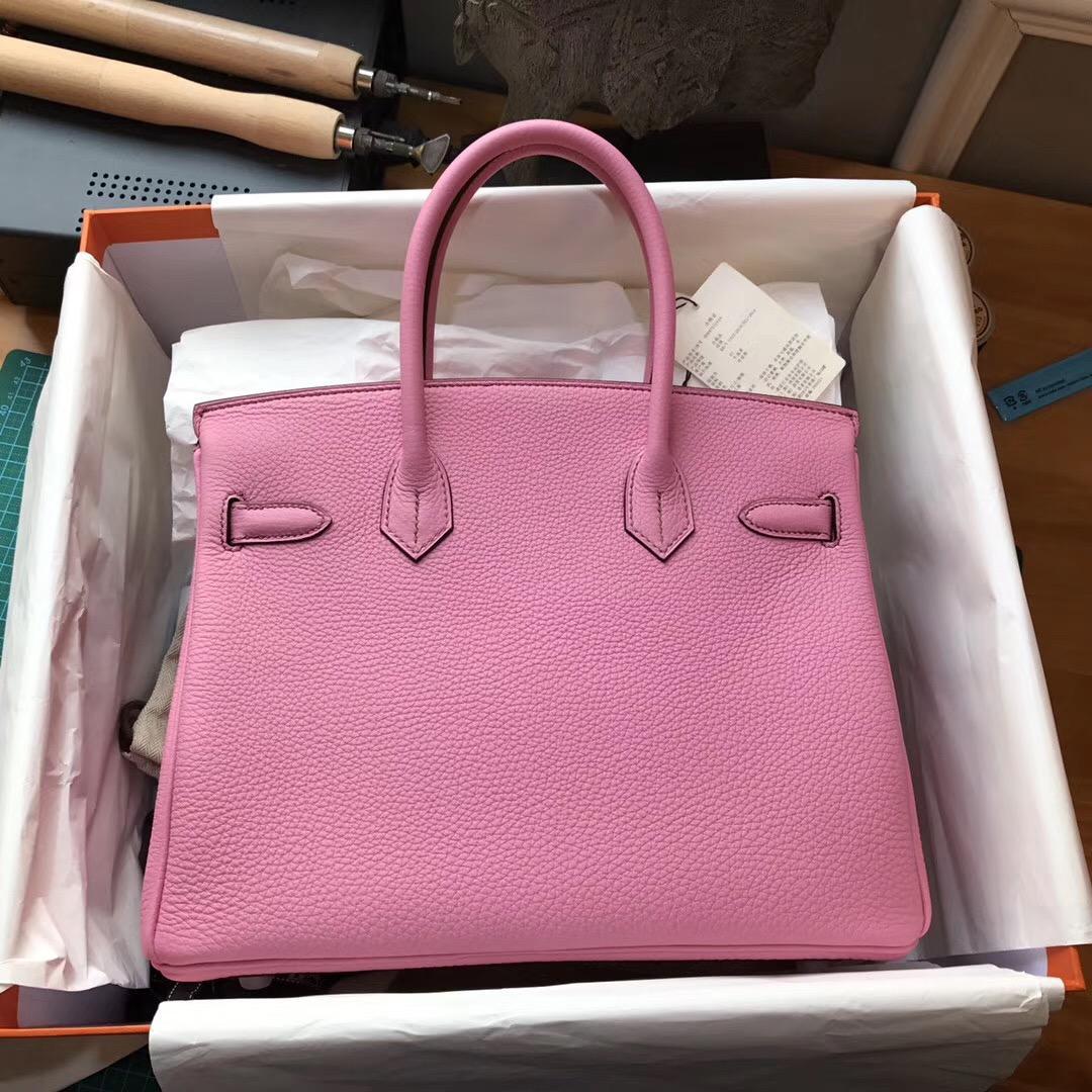 Hermes鉑金包 Birkin 30 togo 5P Pink 櫻花粉色银扣 Hermes最出名的包袋