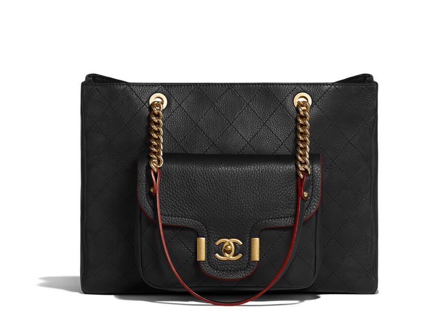 香奈兒chane 2018春夏系列 black 黑色 小牛皮大號手提包Large shopping bag