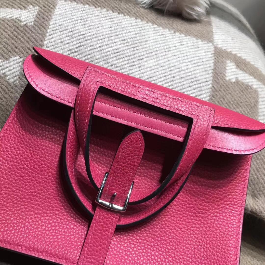 Hermes迷妳包Halzan mini bag togo荔枝紋I6 Rose Extreme極致粉
