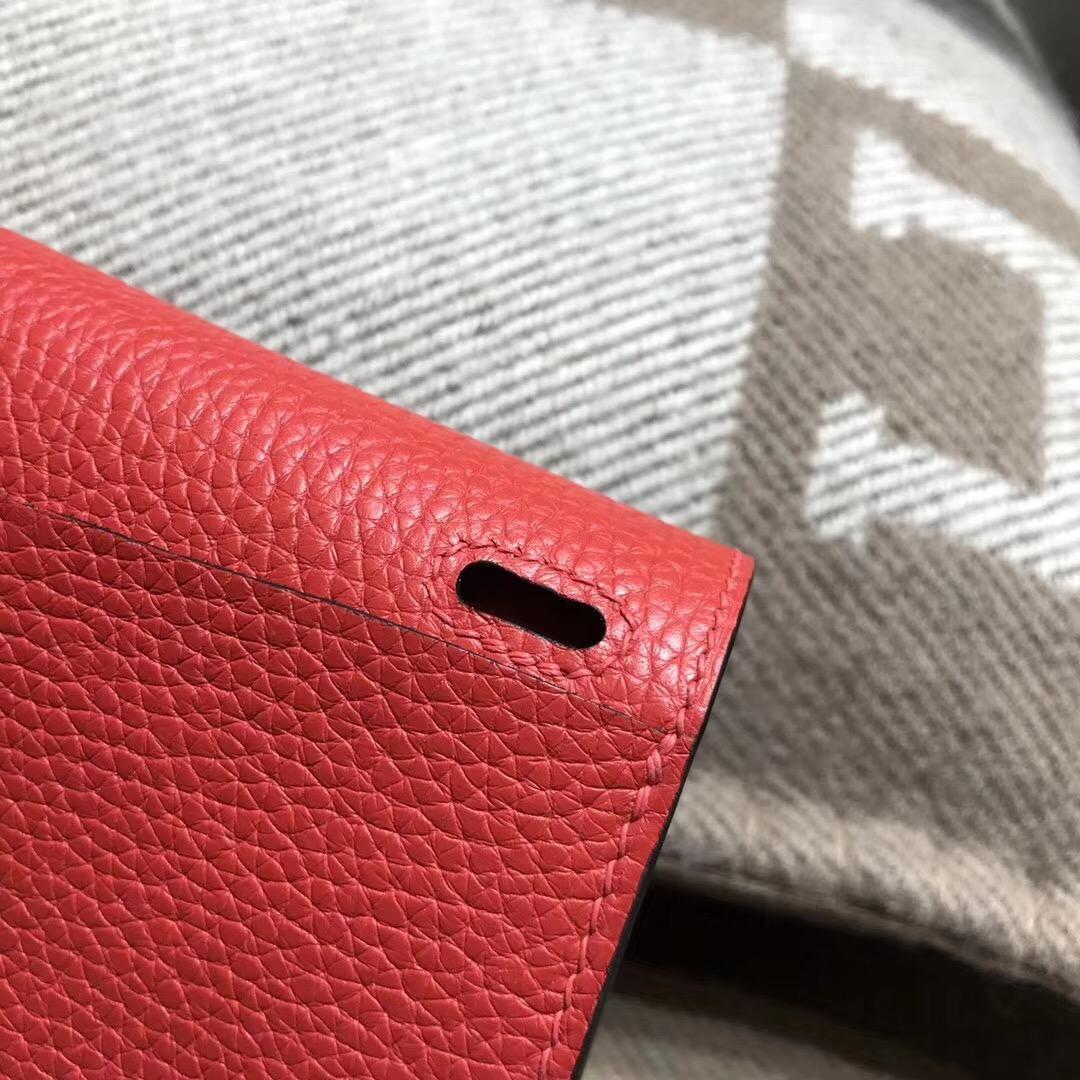 Hermes迷妳包Halzan mini bag togo荔枝紋S5 Rouge Tomate 番茄紅