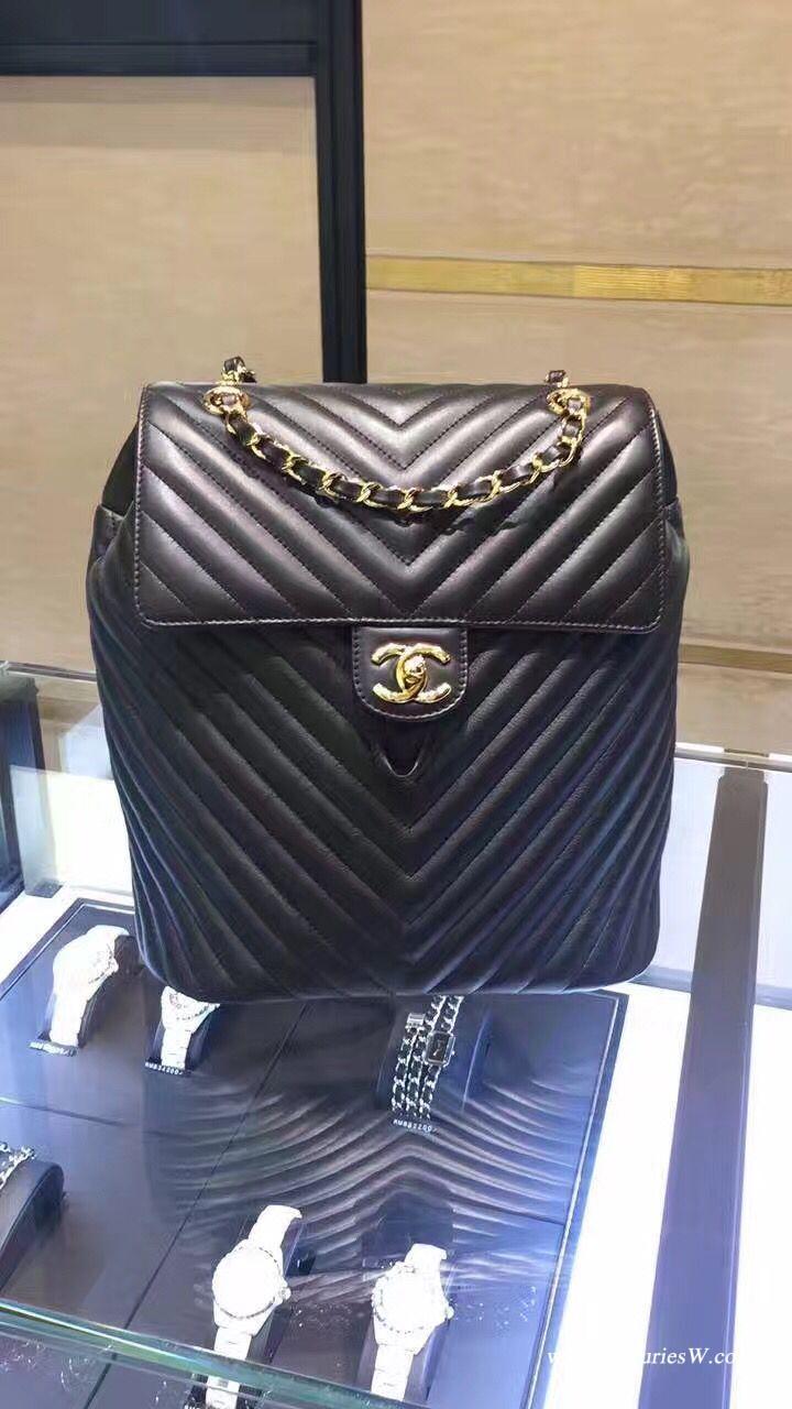 小香经典coco小牛皮 CF双背包V型款 黑色红色backpack