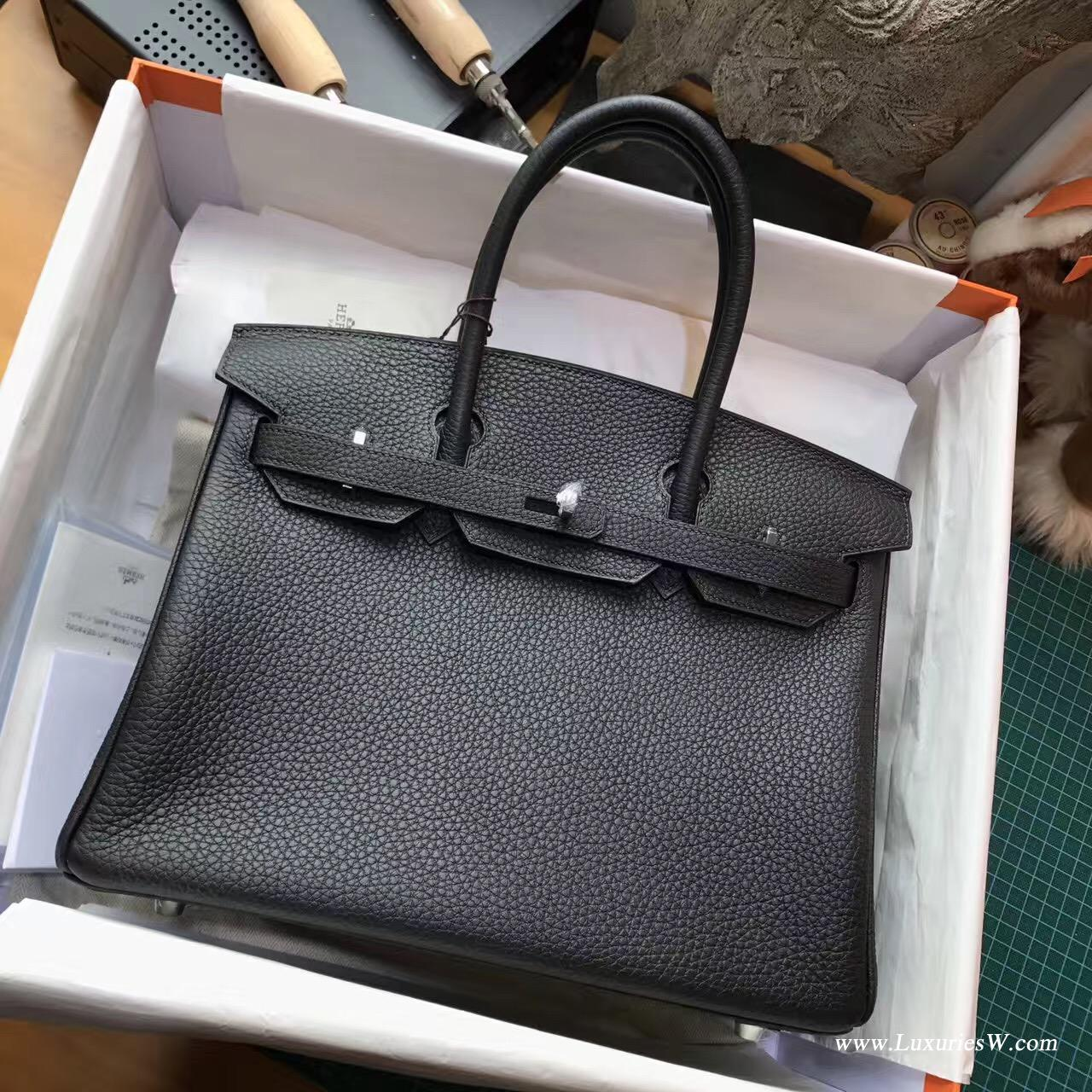 Hermes最出名的包袋鉑金包Birkin 30 togo 黑色 CK89 Nior 銀扣