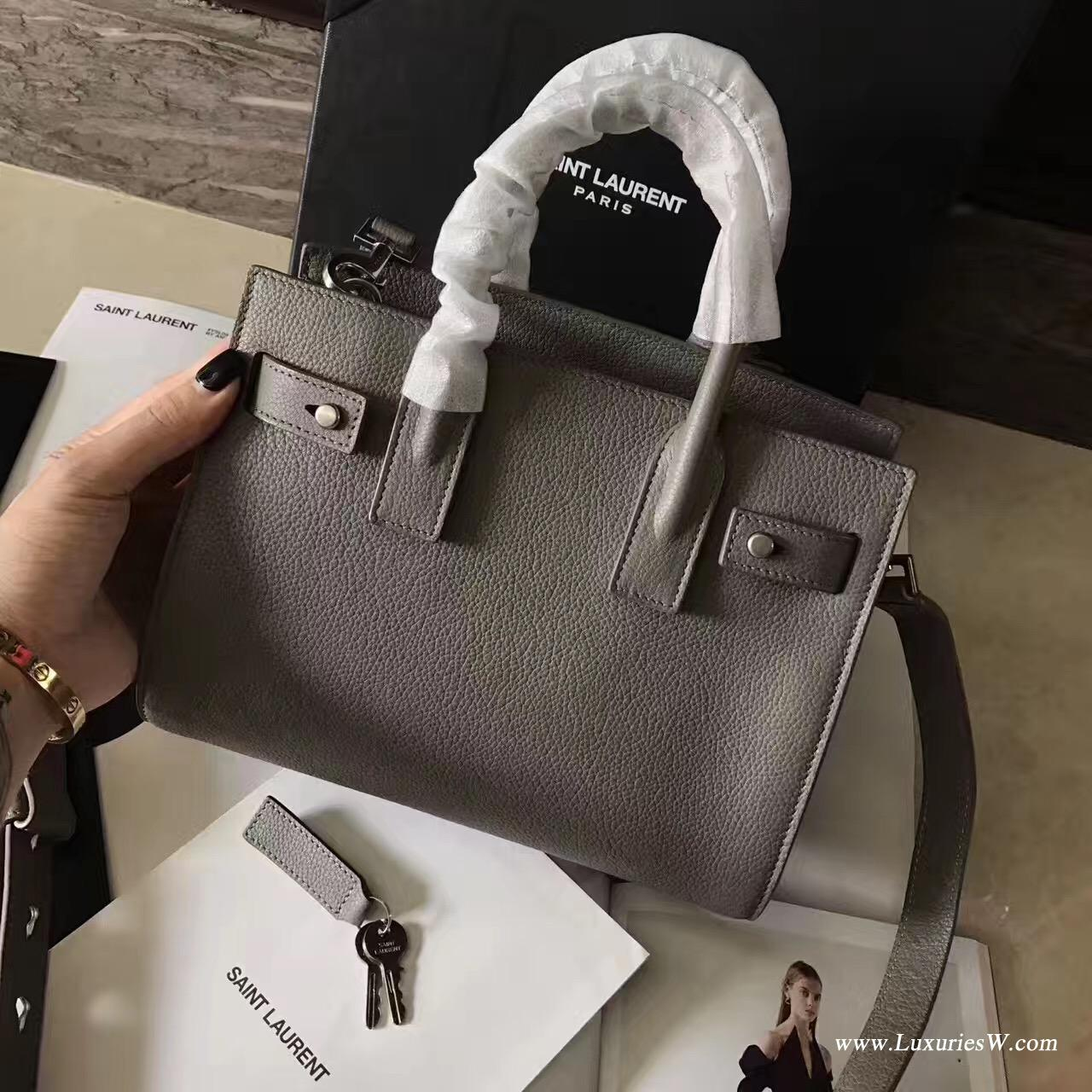 聖羅蘭YSL迷你号nano sac de jour手提包 颗粒纹灰粉绿白等颜色真皮包