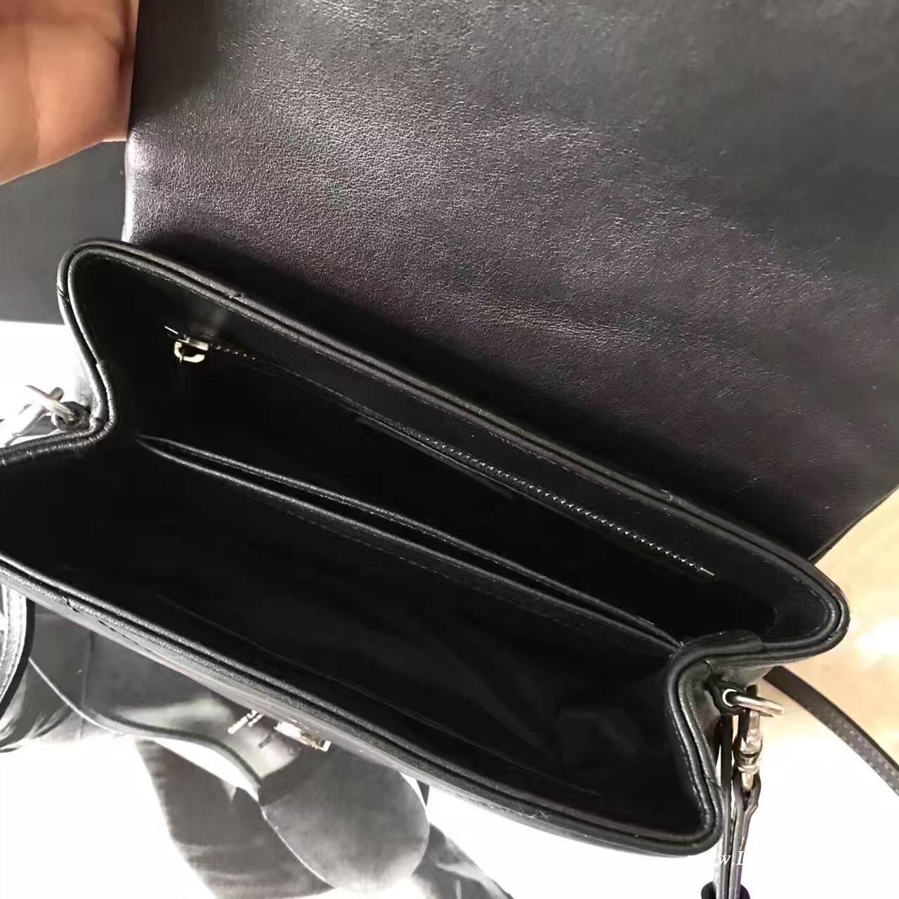 YSL SAINT LAURENT黑色斜跨带 带可调节可拆卸斜跨皮带