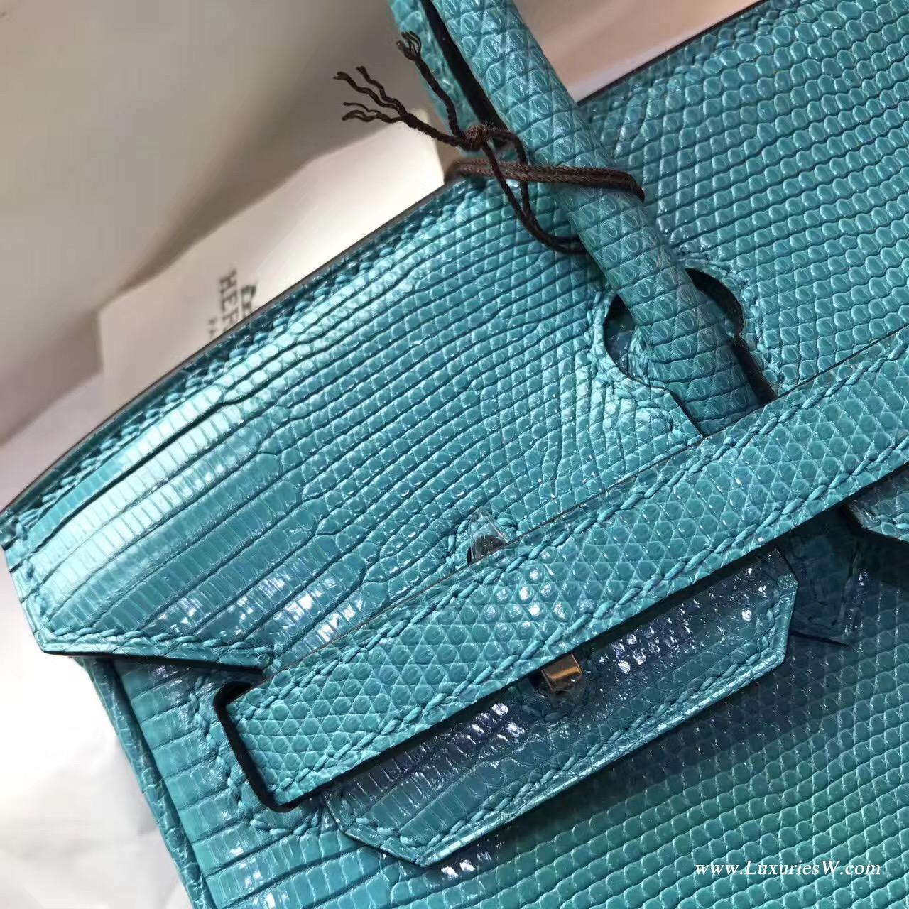 愛馬仕鉑金包 Birkin 25 蜥蜴皮 Fjord 7W Blue Lzmir伊茲密爾藍
