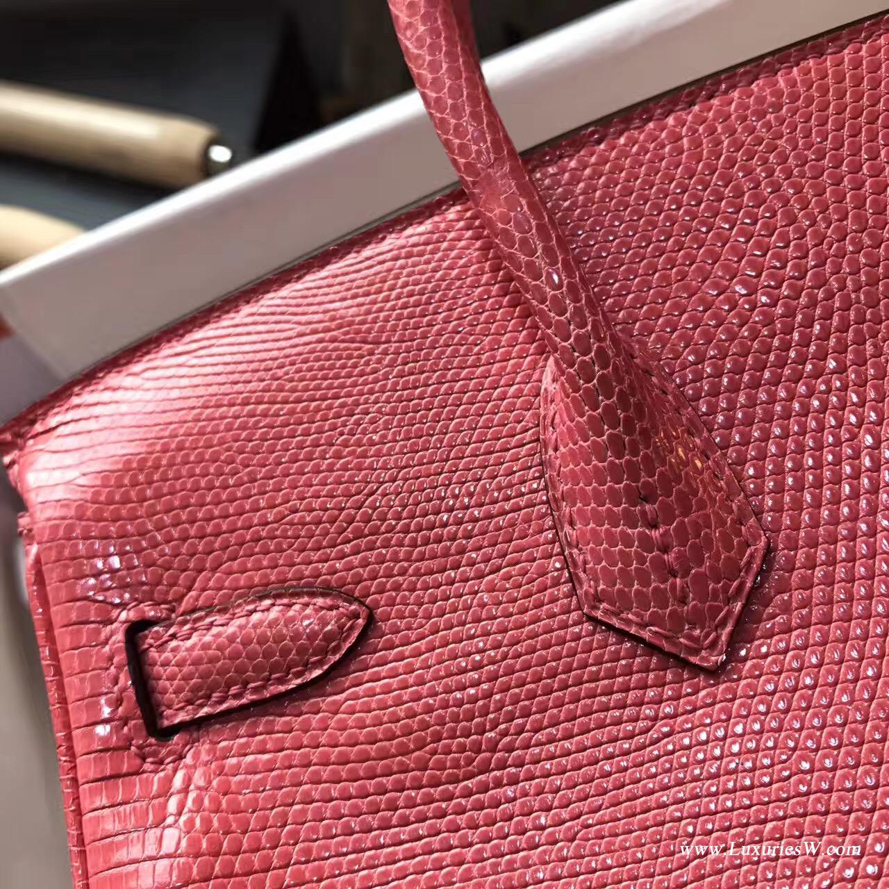 愛馬仕鉑金包 Birkin 25 蜥蜴皮8W Rose Azalee 新唇膏粉色
