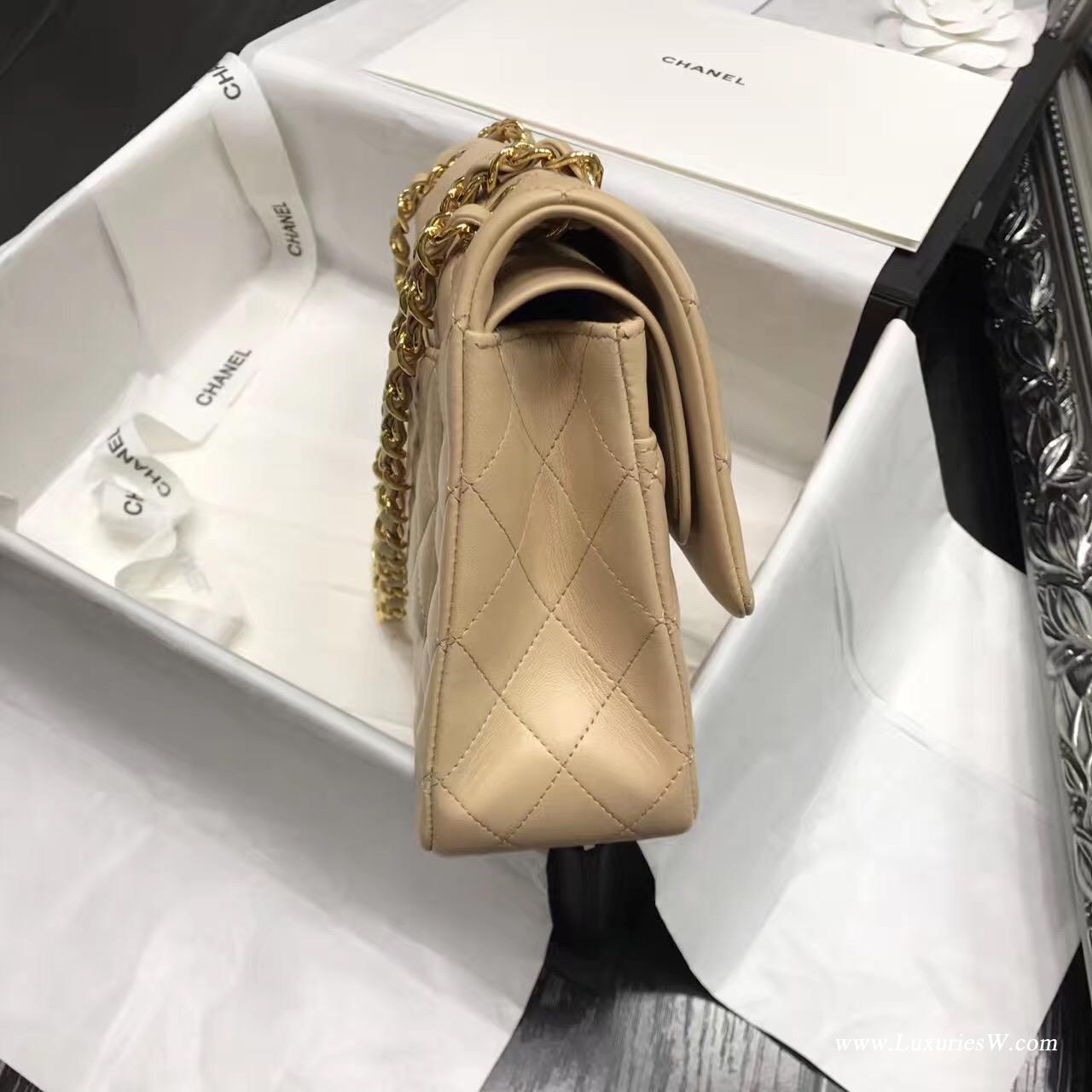 小香Classic Flap Bag 杏色 A01112菱格鏈條經典口蓋包小羊皮