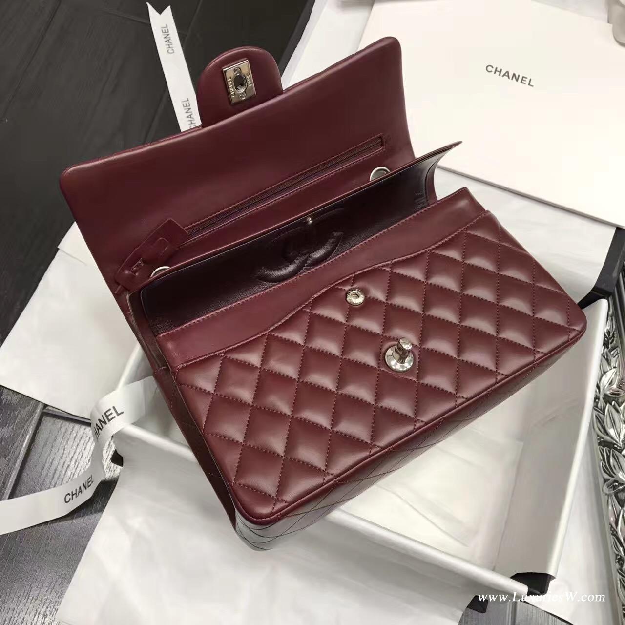 Classic Flap Bag酒紅色 A01112菱格鏈條經典口蓋包小羊皮 金色金屬