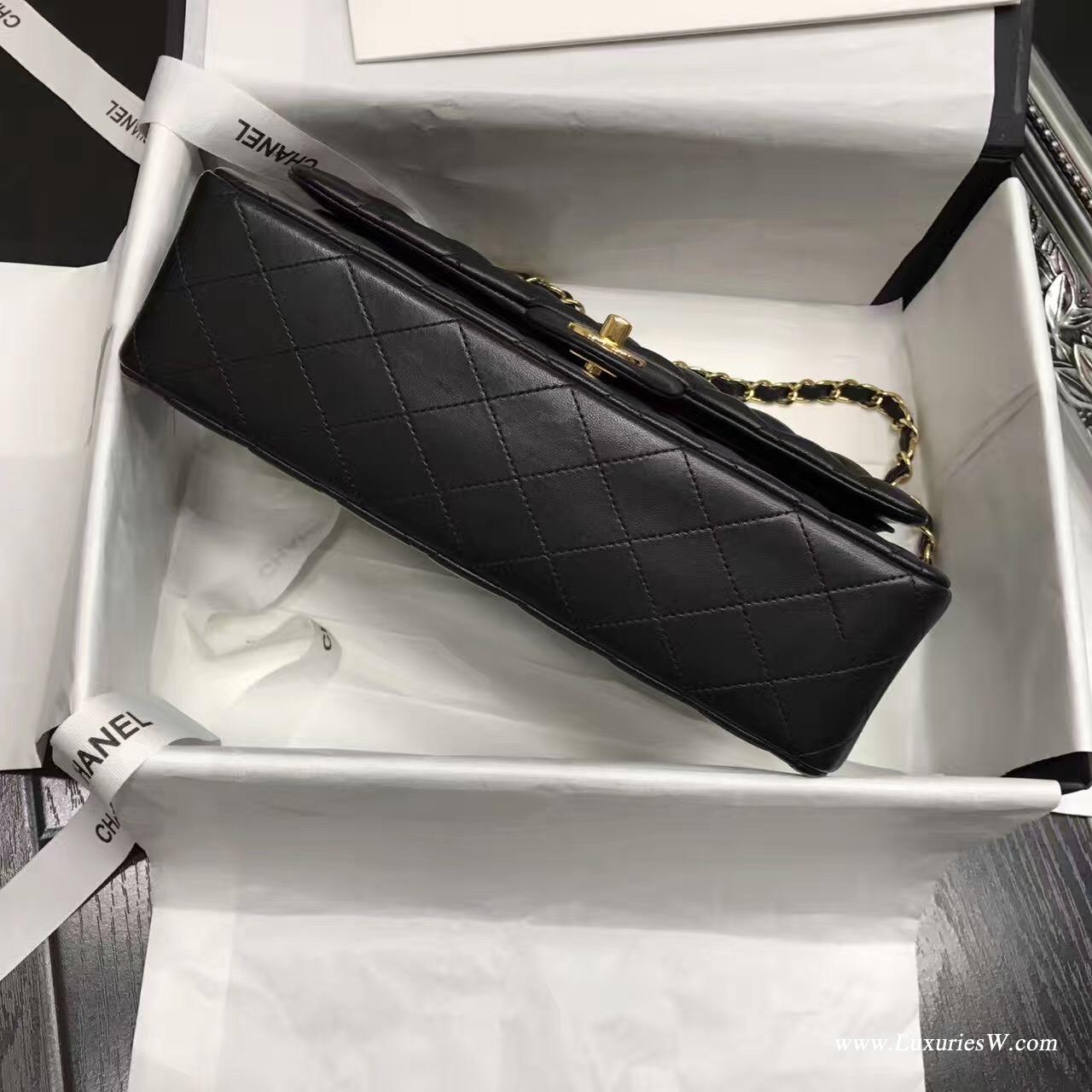 Classic Flap Bag 黑與酒紅A01112菱格鏈條經典口蓋包小羊皮 金色金屬