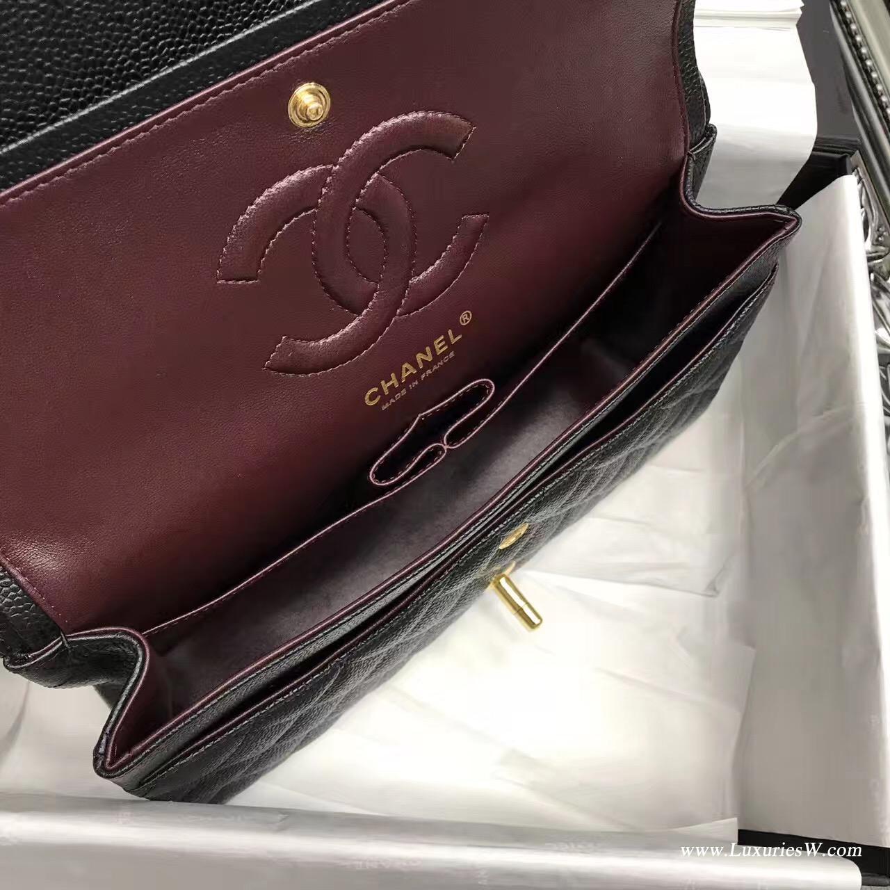小香Classic Flap Bag 黑色A01112菱格鏈條經典口蓋包魚子醬