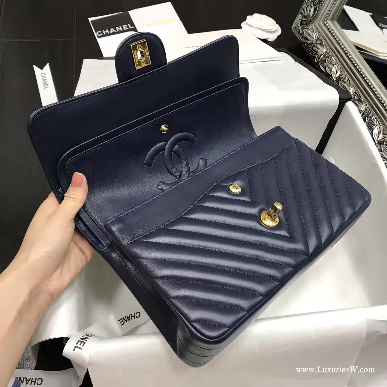 小香Classic Flap Bag 海军蓝色V型 A01112菱格鏈條經典口蓋包羊皮
